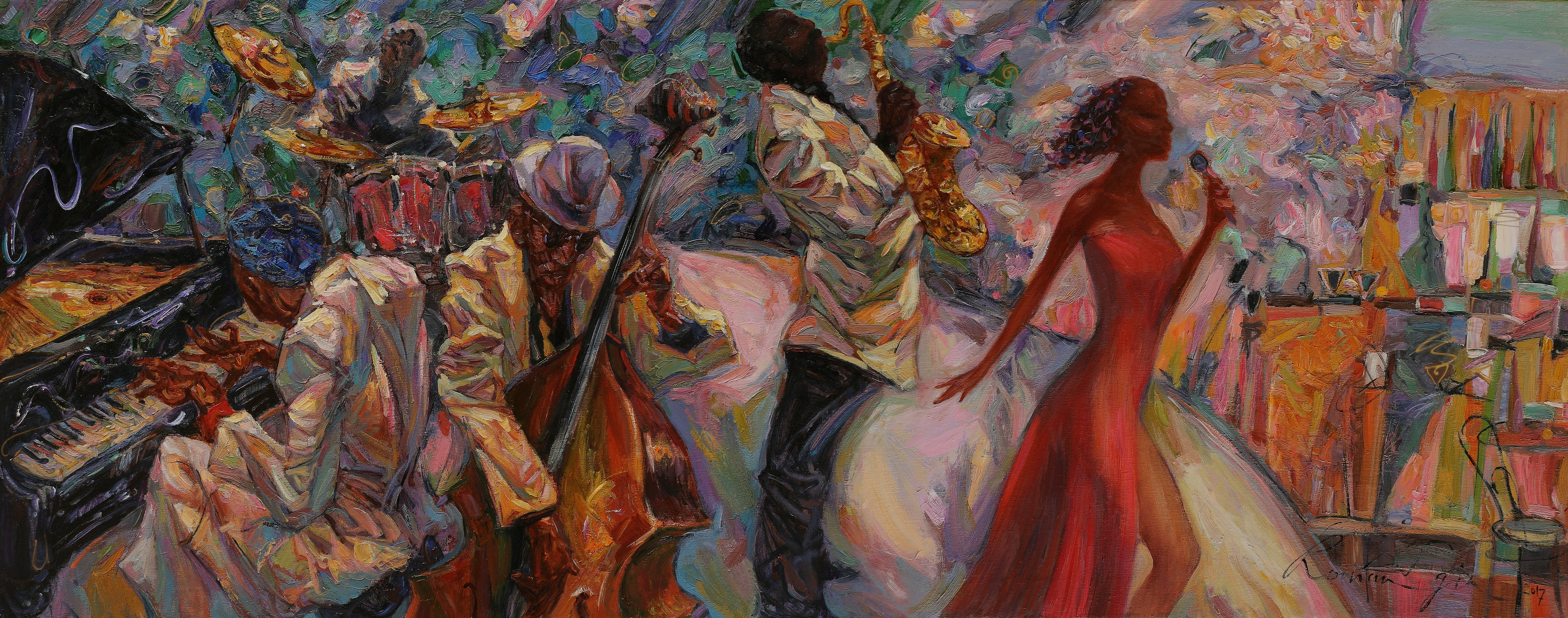 """An oil painting from the """"Sounds of Jazz"""" series by artist Roman Nogin. (Shutterstock Photo)"""
