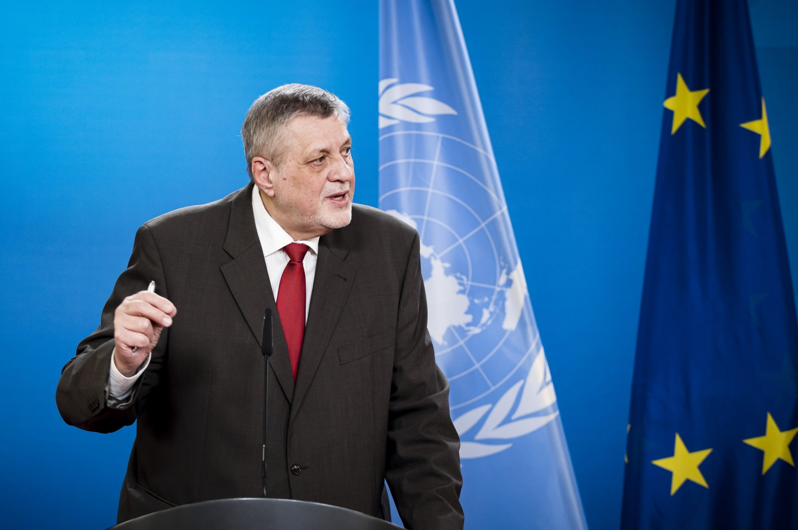 Jan Kubis, head of the United Nations Support Mission in Libya, speaks during a press conference at the Federal Foreign Office in Berlin, Germany, March 18, 2021. (Getty Images)