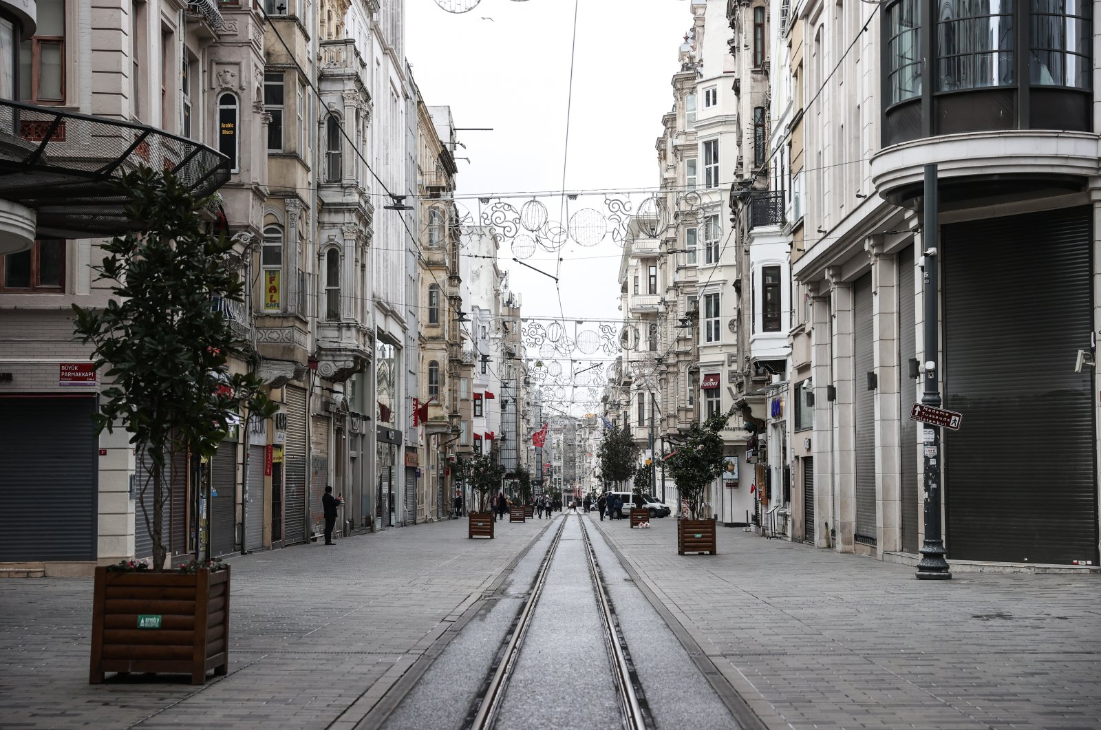 The famous Istiklal street near Taksim Square lies deserted during a lockdown, Istanbul, Turkey, Feb. 28, 2021. (AA Photo)