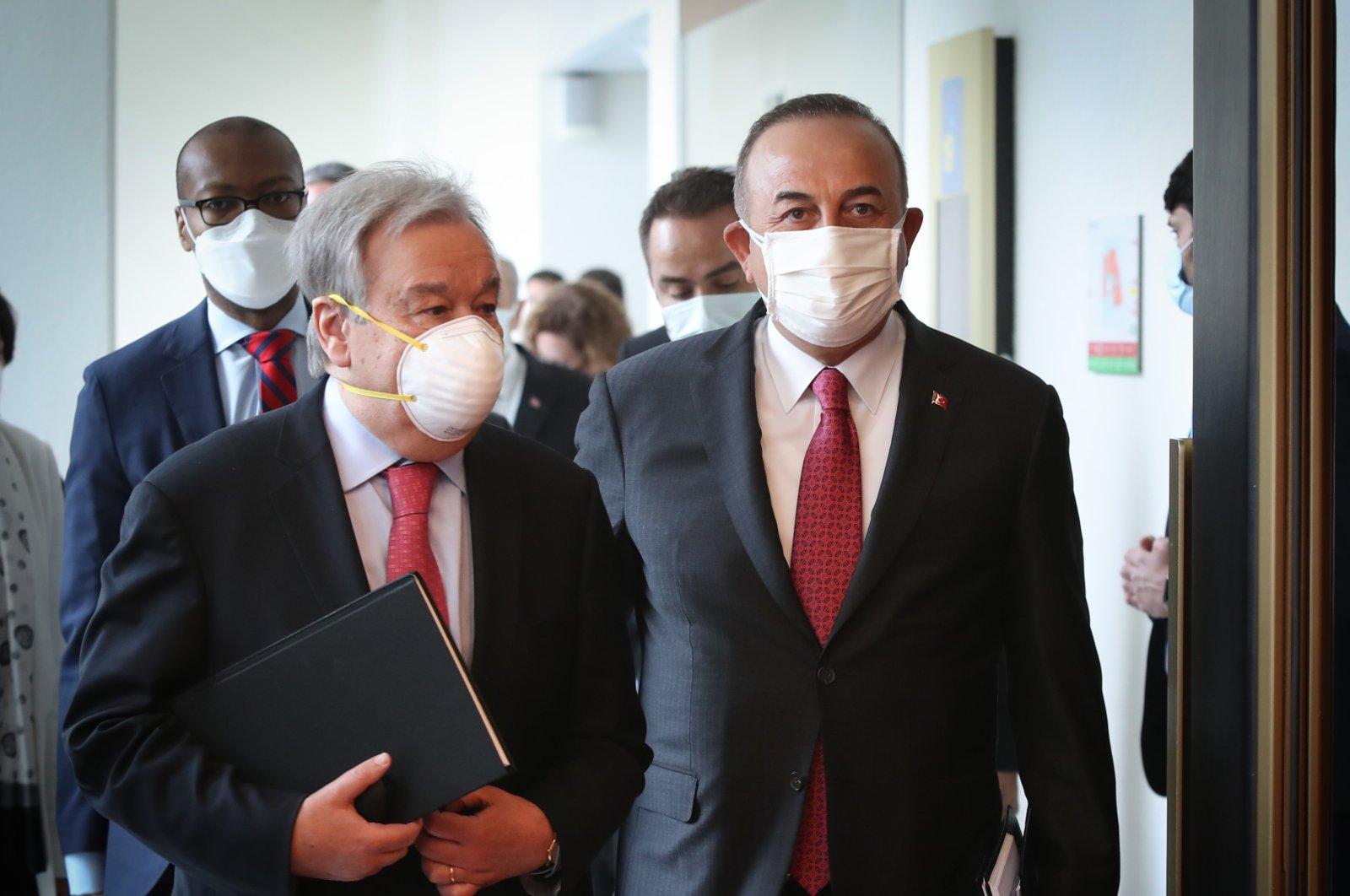 U.N. Secretary-General Antonio Guterres attends the U.N.-led Cyprus talks in Geneva, Switzerland, April 28, 2021. (AA Photo)