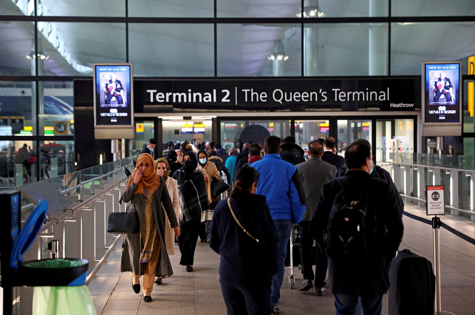People queue to enter terminal 2 at Heathrow Airport, as tighter rules for international travelers start, amid the spread of the coronavirus disease (COVID-19) pandemic, London, U.K., Jan. 18, 2021. (Reuters Photo)