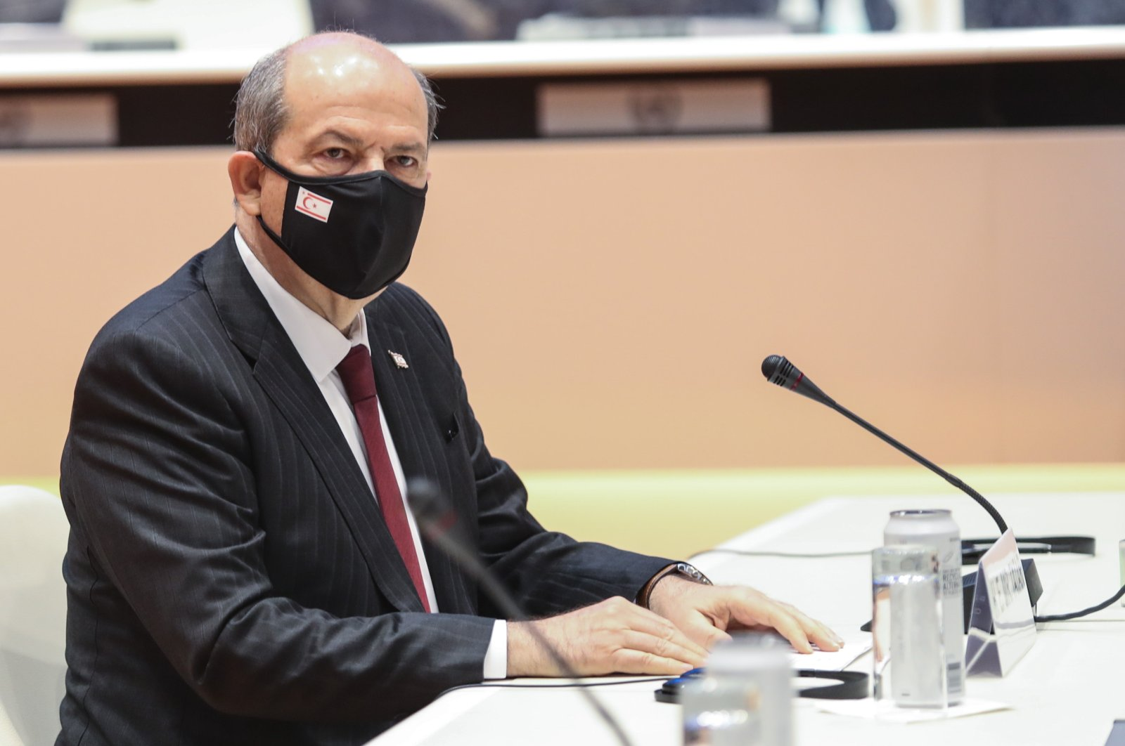 Turkish Cypriot leader Ersin Tatar is seen during the Geneva talks held to find a solution to the Cyprus issue, Switzerland, April 29, 2021. (AA Photo)