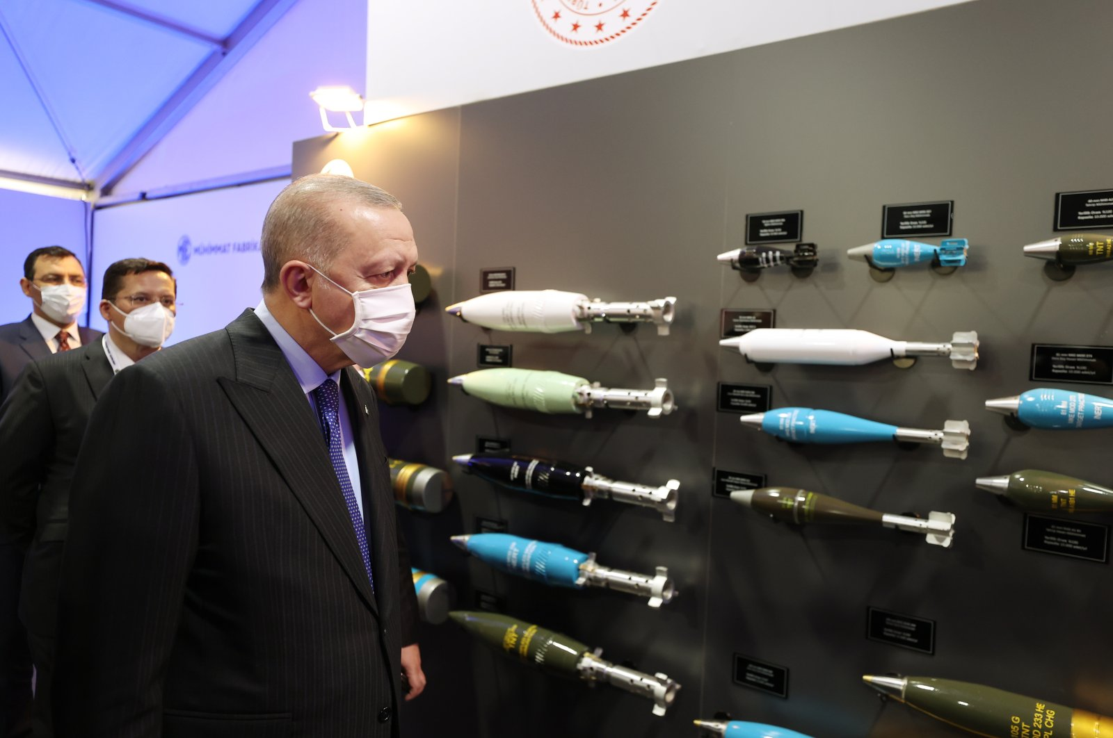 President Recep Tayyip Erdoğan inspects missiles at the newly opened MKEK factory in Ankara on Apr. 29, 2021 (AA Photo)