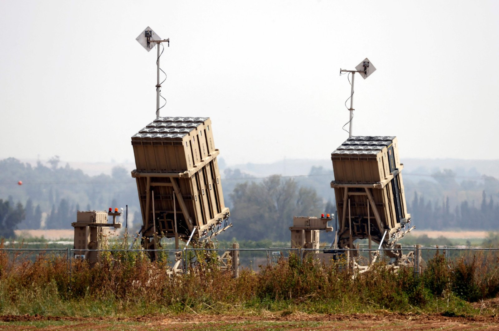 Iron Dome defense missile systems, designed to intercept and destroy incoming short-range rockets and artillery shells, are pictured in the city of Sderot, Israel, April 24, 2021. (AFP Photo)