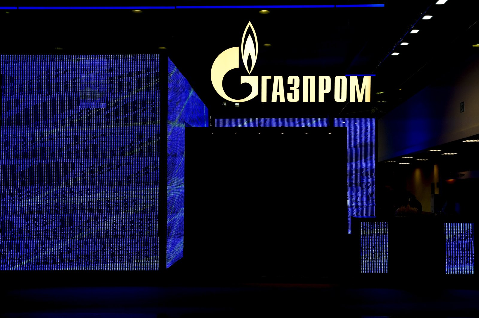 The Gazprom logo seen during the Neftegaz 2021 - 20th International Exhibition for Equipment and Technologies for Oil and Gas Industry held in Moscow, Russia, April 29, 2021. (AA Photo)
