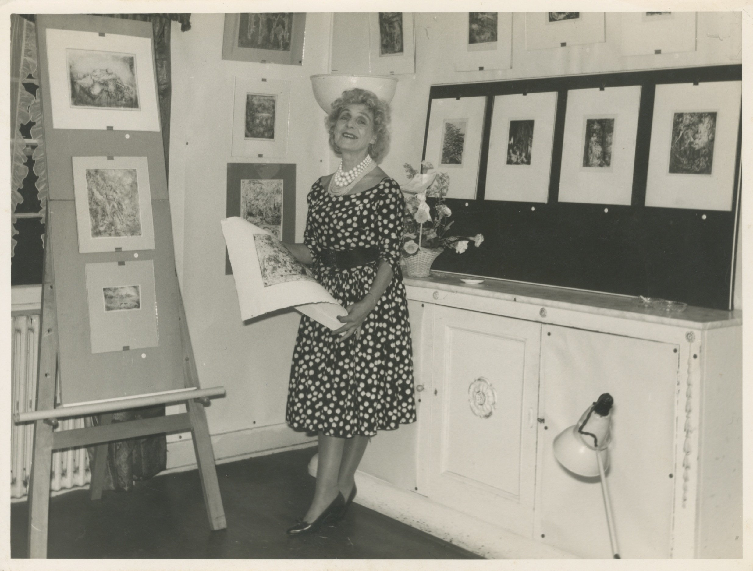 Aliye Berger poses with her artworks. (Courtesy of SALT Research)