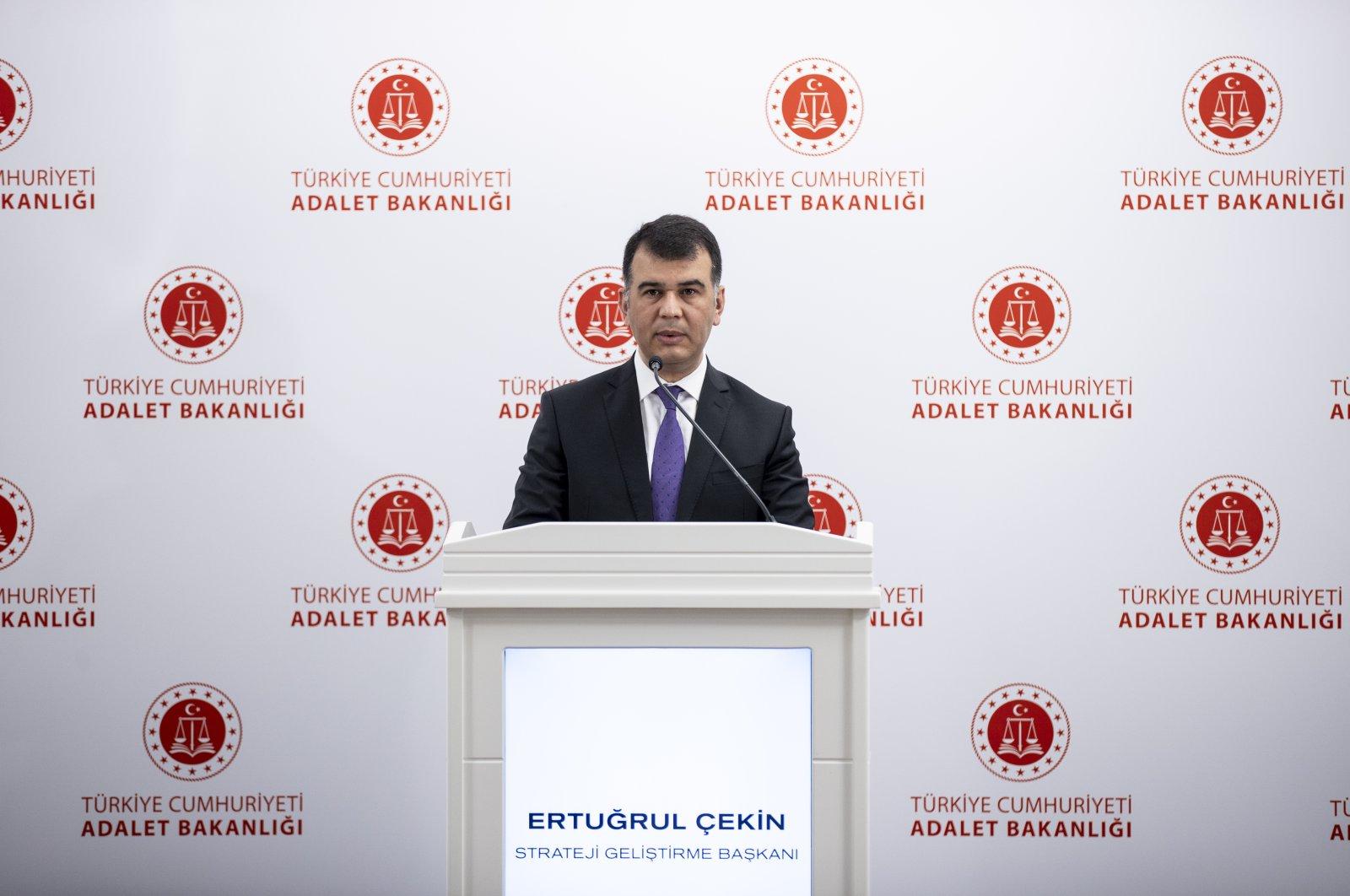Justice Ministry spokesperson Ertuğrul Çekin speaks at a press meeting in Ankara, Turkey, April 30, 2021. (AA Photo)
