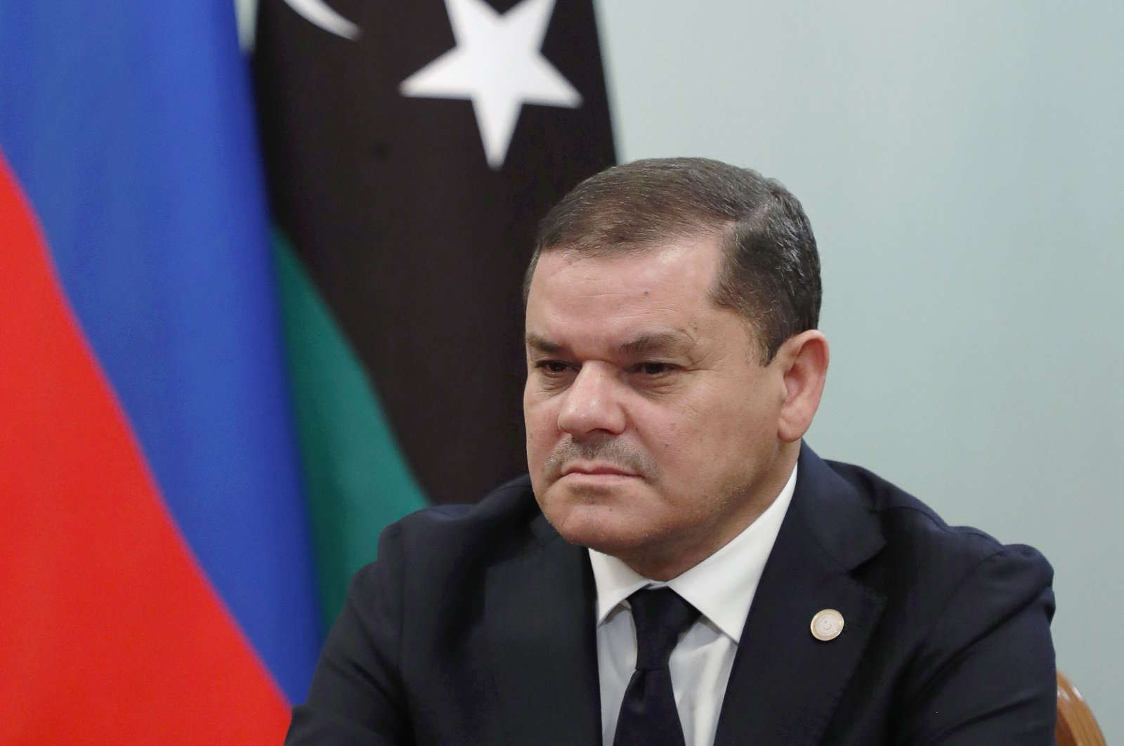 Prime Minister of the Libyan Government of National Unity Abdul Hamid Mohammed Dbeibah takes part in a meeting with Russia's Prime Minister Mikhail Mishustin (not pictured) at the House of the Government of the Russian Federation in Moscow, Russia, April 15, 2021  (Getty Images)