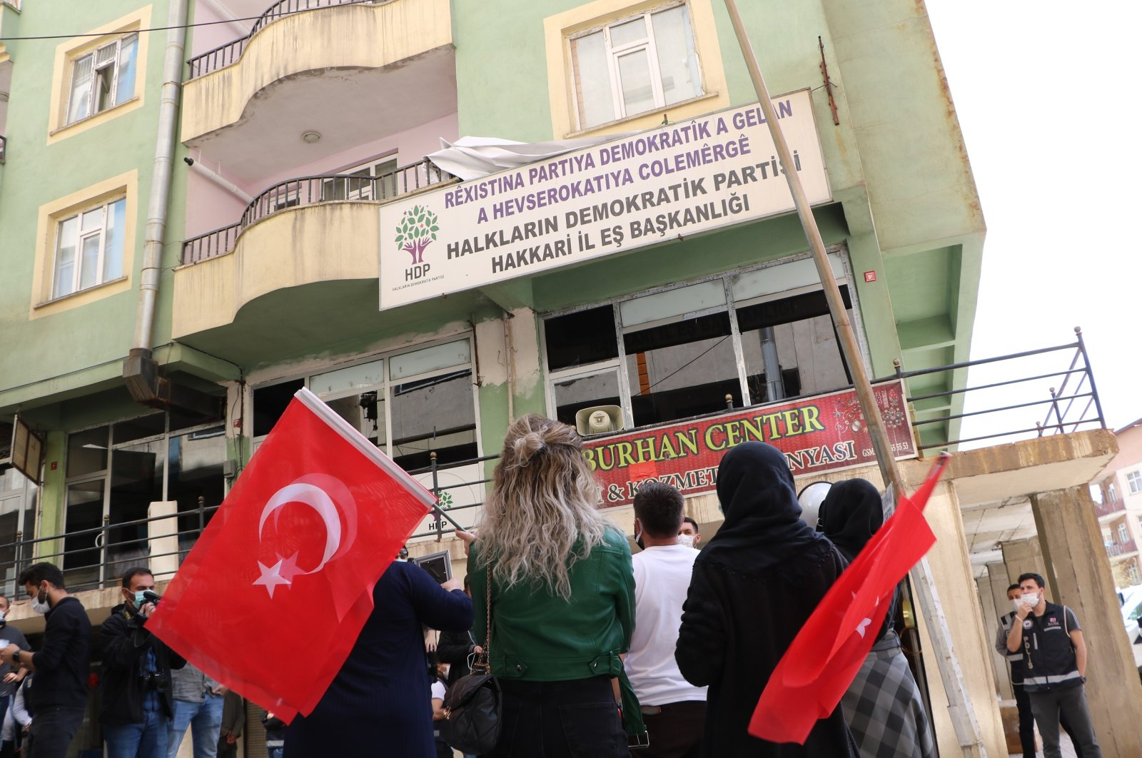 Families protest the PKK in front of the pro-PKK Peoples' Democratic Party's (HDP) provincial office in southeastern Hakkari, Turkey, April 29, 2021 (DHA Photo)