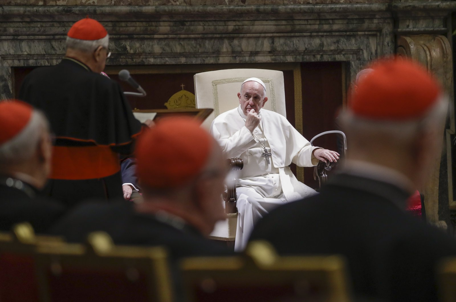 Cardinal Angelo Sodano (2nd from L) delivers a speech as Pope Francis (C) listens during the pontiff's Christmas greetings to the Roman Curia, in the Clementine Hall at the Vatican, Dec. 21, 2019. (AP Photo)