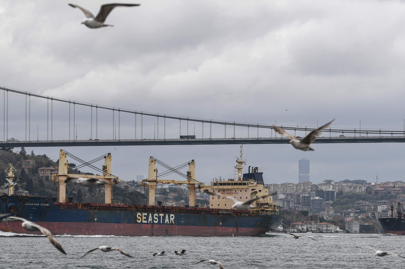 A ship en route to the Black Sea sails through the Bosporus, Istanbul, Turkey, April 23, 2021. (AFP Photo)