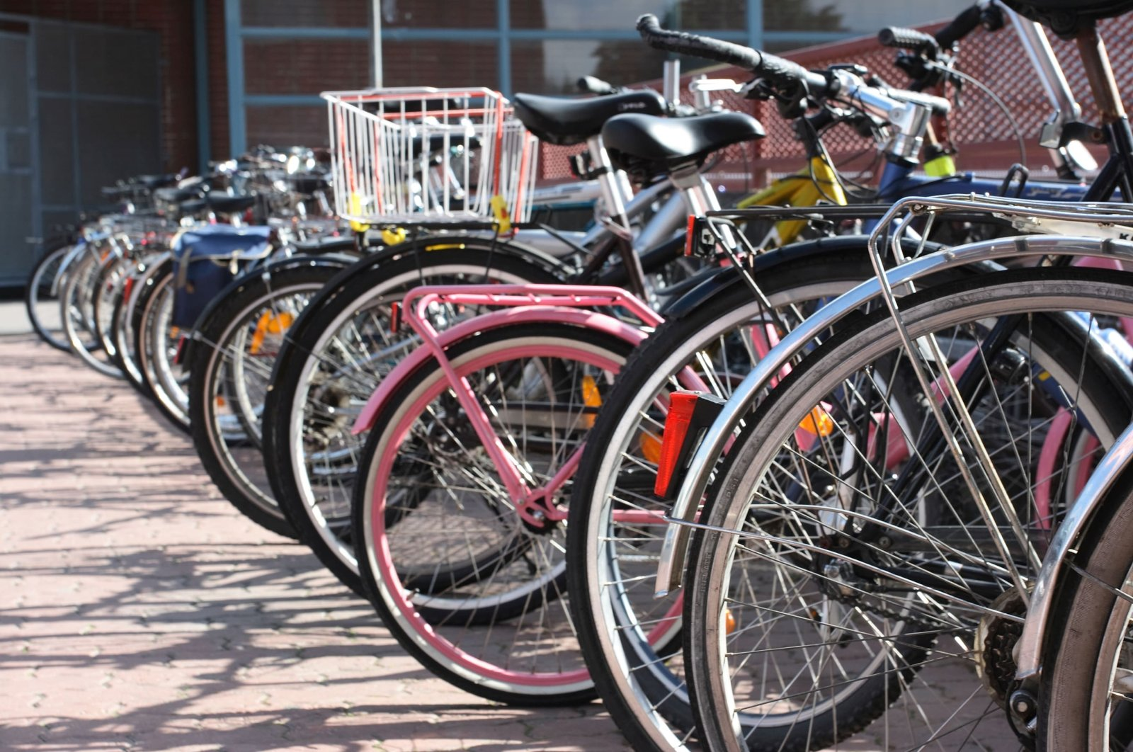 A wide range of bicycles parked on a bike rack. (Courtesy of WWF Turkey)