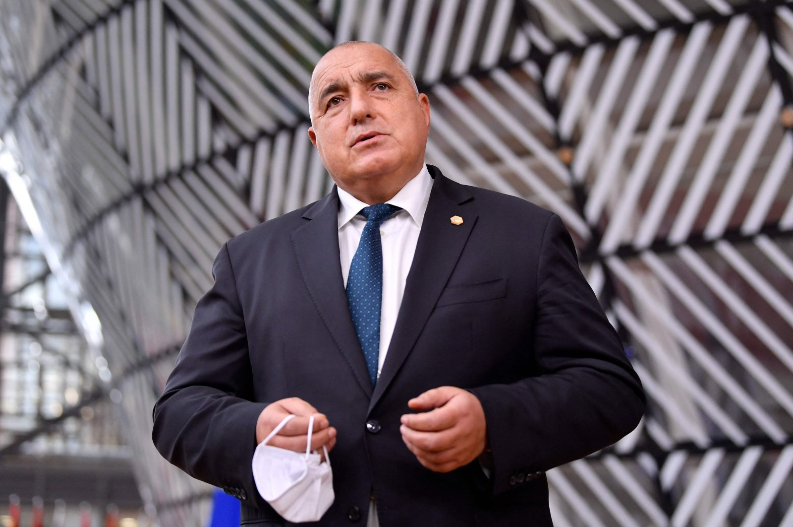 Bulgaria's Prime Minister Boyko Borisov addresses journalists as he arrives at the European Union headquarters' Europa building prior to an EU summit in Brussels, Belgium, Dec. 10, 2020. (AFP Photo)