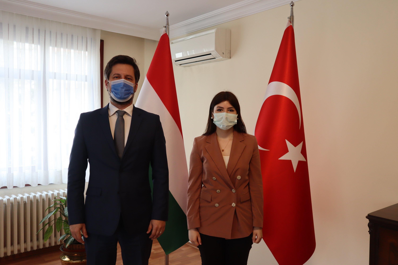 Hungary's Ambassador to Turkey Viktor Matis (L) with Daily Sabah's Dilara Aslan, April 26, 2021. (Daily Sabah Photo)