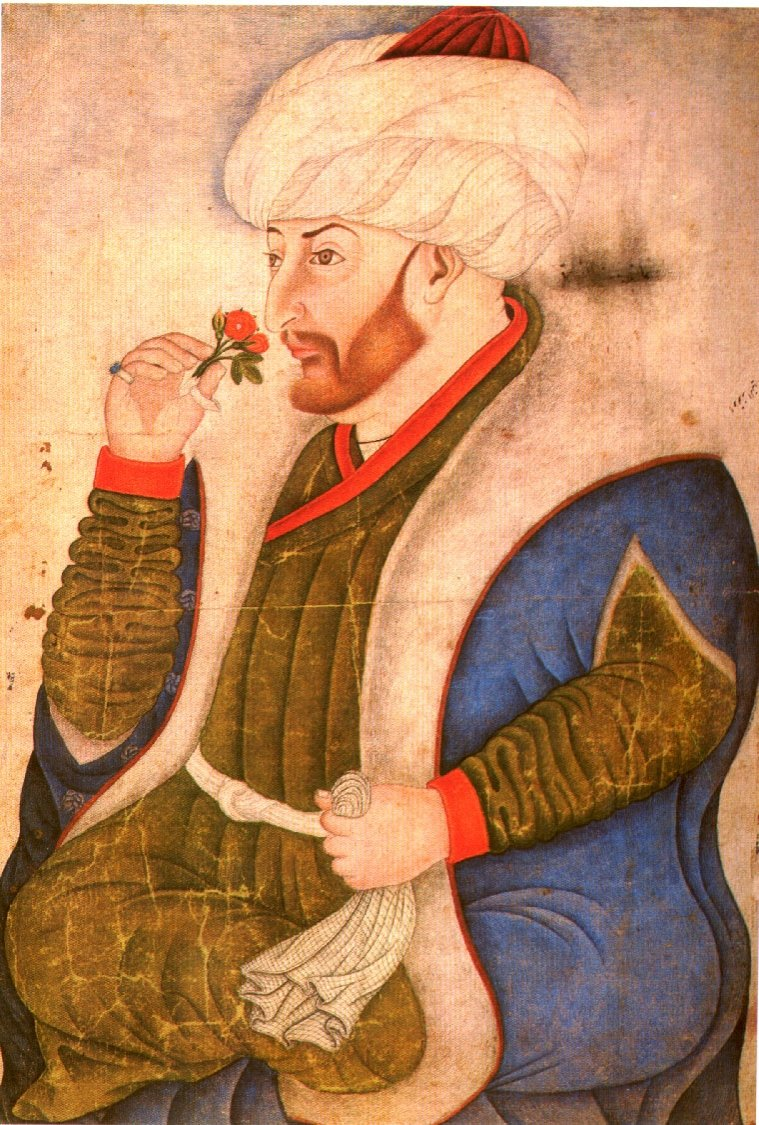 The portait of Ottoman Sultan Mehmed I made by Nakkaş Sinan Bey from the Topkapı Palace Albums.