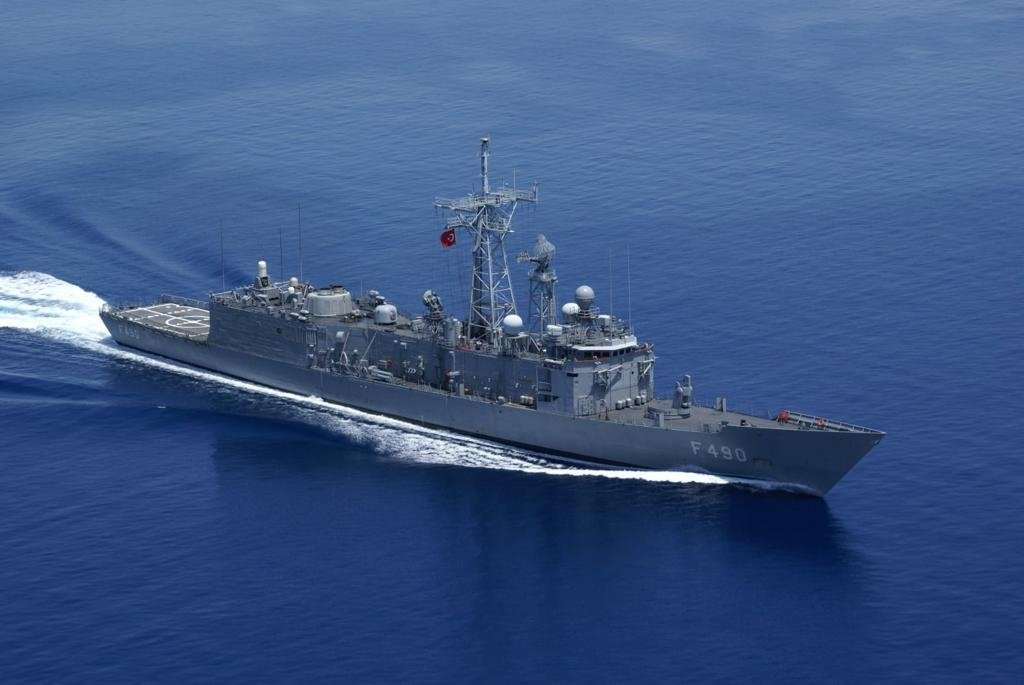 The Turkish navy vessel TCG Gaziantep is seen off the coast of Libya's capital Tripoli, May 2, 2021. (AA Photo)