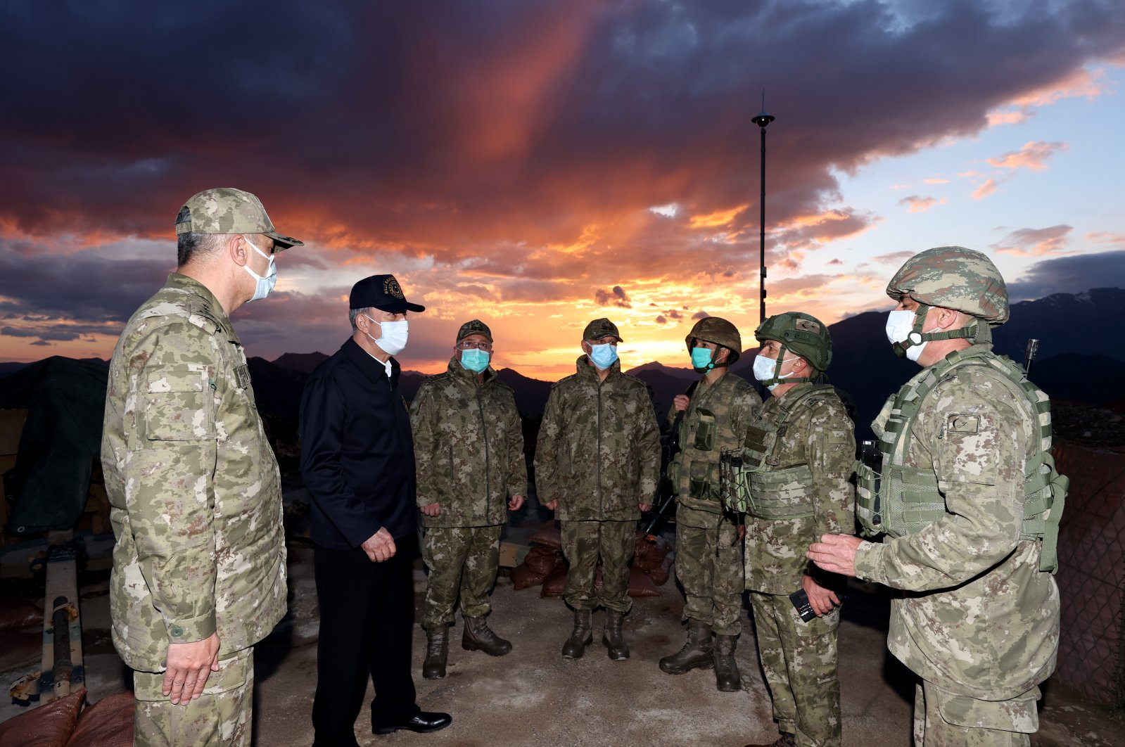 Defense Minister Hulusi Akar (L-2) visits Turkish troops in northern Iraq, May 2, 2021. (AA Photo)