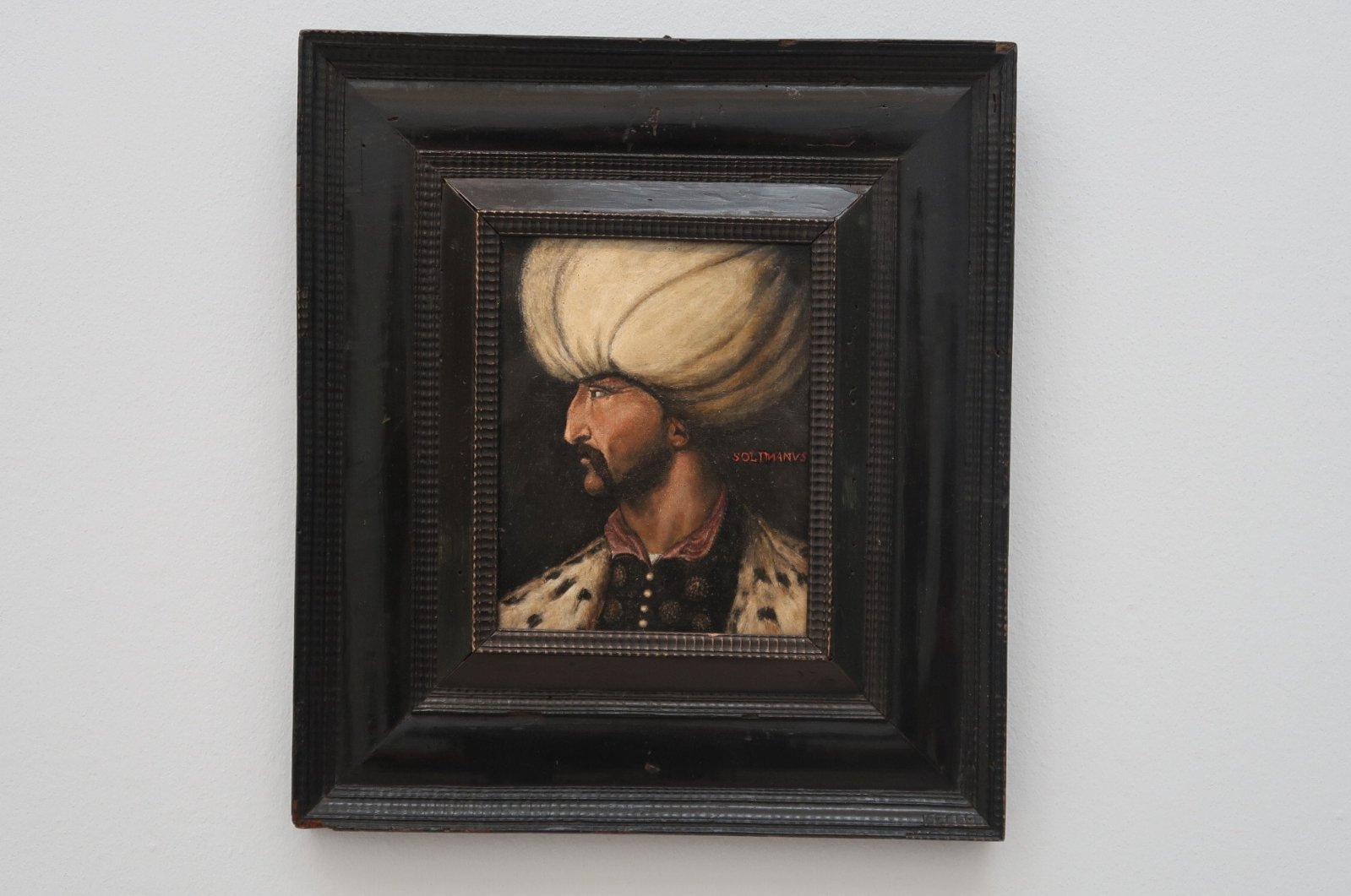 The portrait of Ottoman Sultan Suleiman I at Sotheby's, London, U.K., March 31, 2021. (AA Photo)