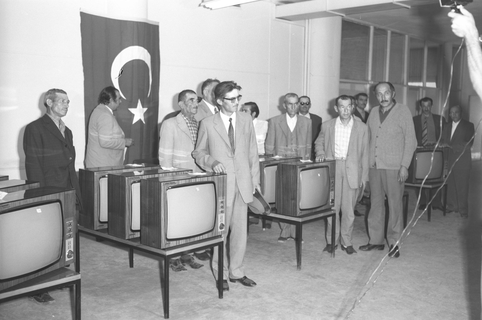 TV sets are gifted by TRT officials to villagers as part of the public broadcaster's campaign to distribute televisions to people living in Turkey's rural areas,Turkey, Aug. 22, 1972. (AA Photo)