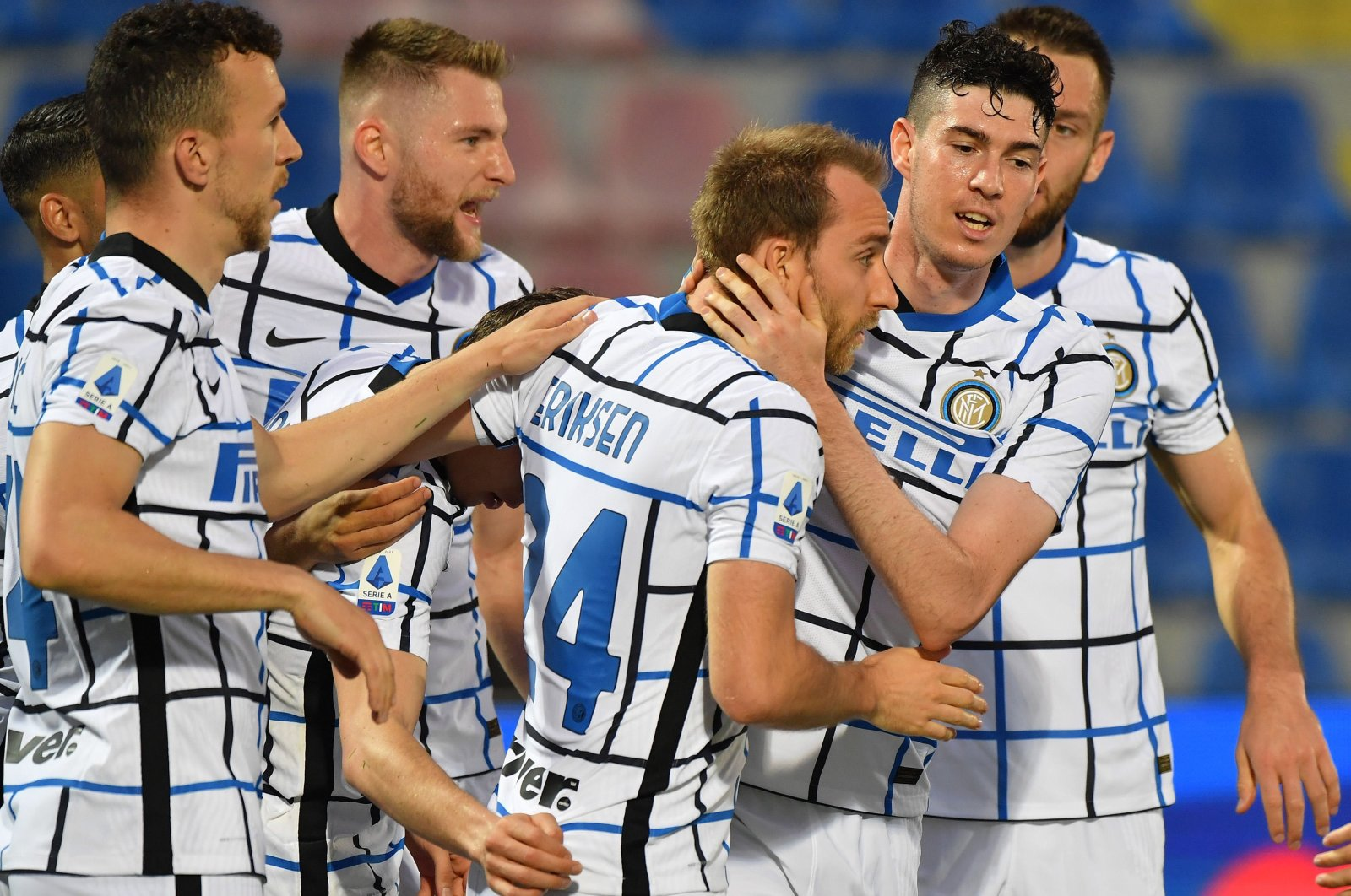 Inter Milan's Christian Eriksen (C) celebrates with teammates after scoring against FC Crotone during a Serie A match at Ezio Scida stadium in Crotone, Italy, May 1, 2021. (EPA Photo)