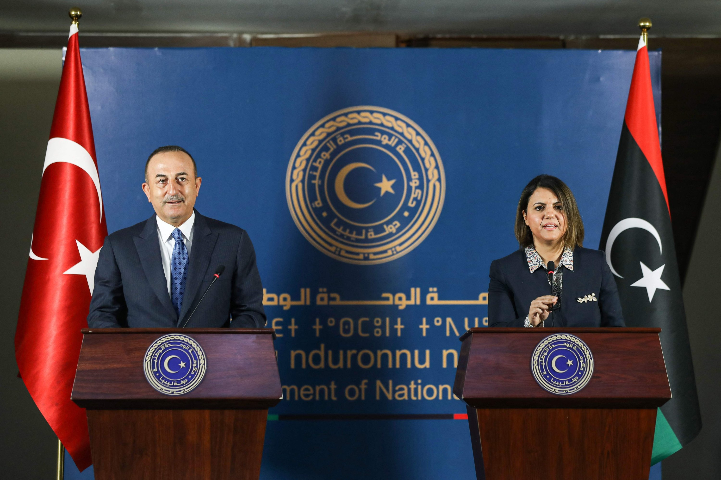 Foreign Minister Mevlüt Çavuşoğlu (L) and Libya's Foreign Minister Najla al-Mangoush during a joint press conference in the capital Tripoli, Libya, May 3, 2021. (AFP Photo)