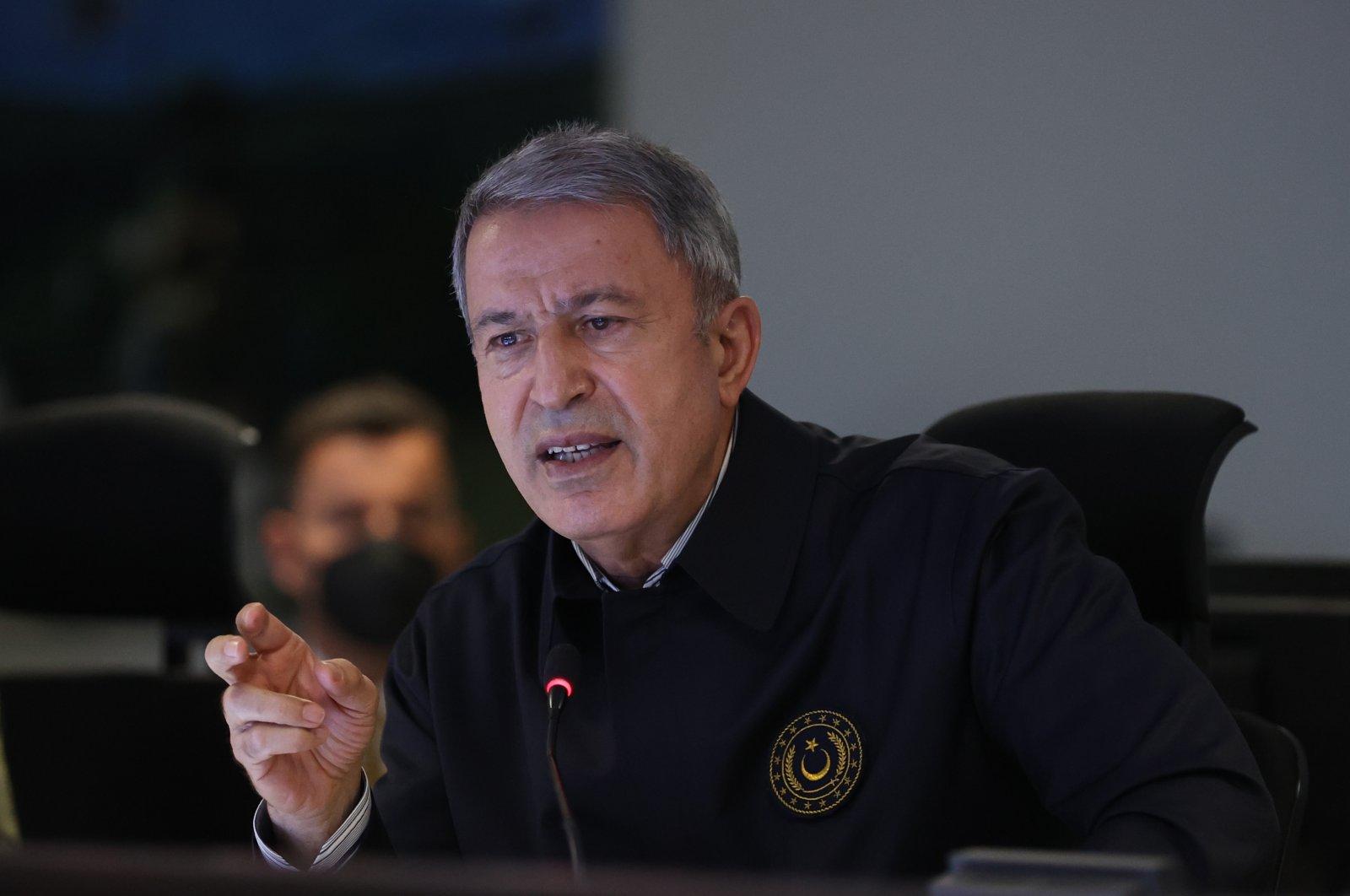 Defense Minister Hulusi Akar speaks at the Eskişehir Air Force Command headquarters in Eskişehir, Turkey, May 3, 2021. (AA Photo)