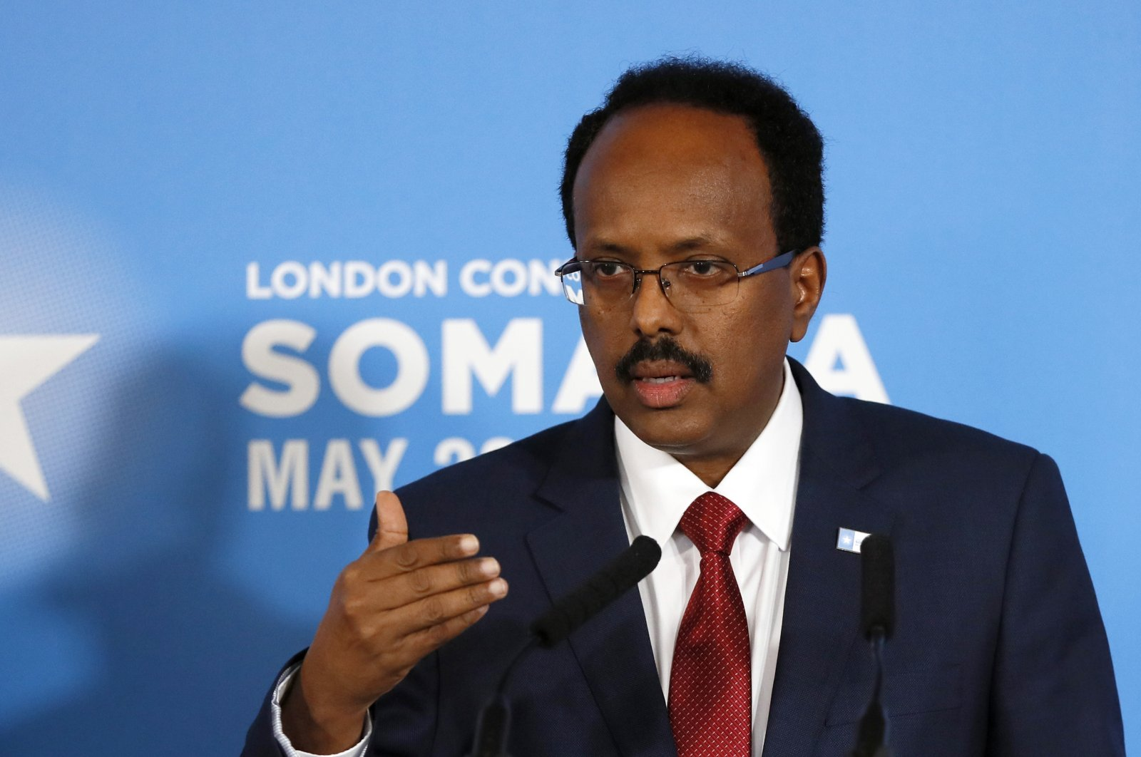 Somali President Mohamed Abdullahi Mohamed speaks during a press conference after the Somalia Conference in London, U.K., May 11, 2017. (AP Photo)