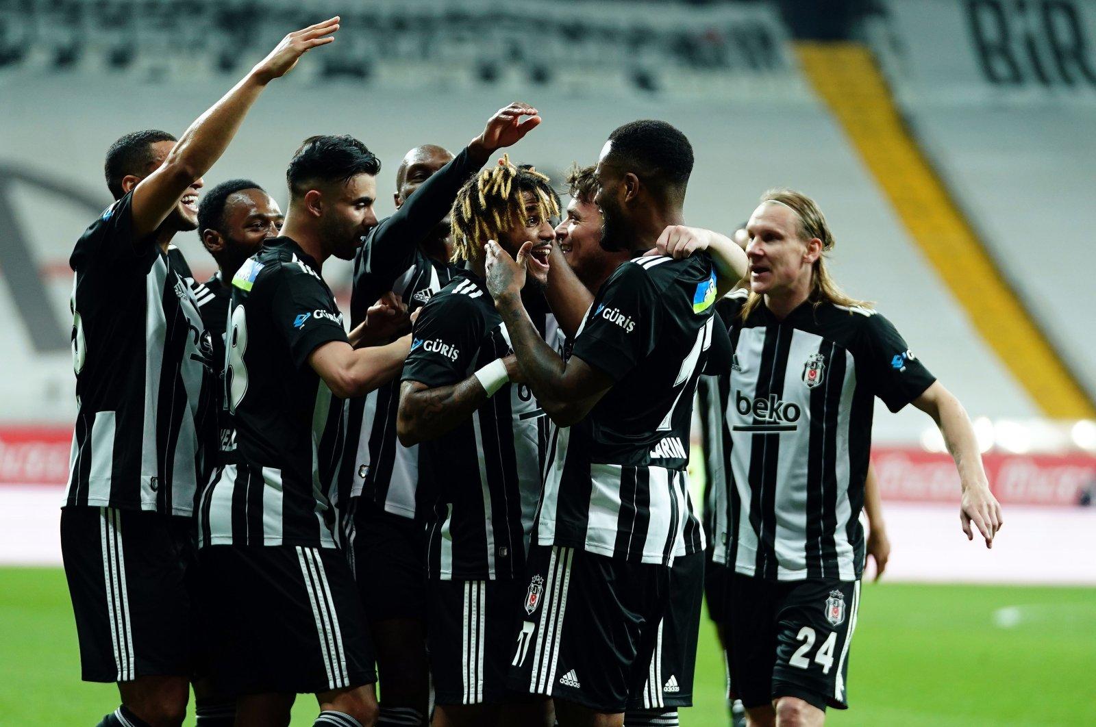 Beşiktaş players celebrate a goal against Hatayspor during a Turkish Süper Lig match in Istanbul, Turkey, May 2, 2021. (IHA Photo)