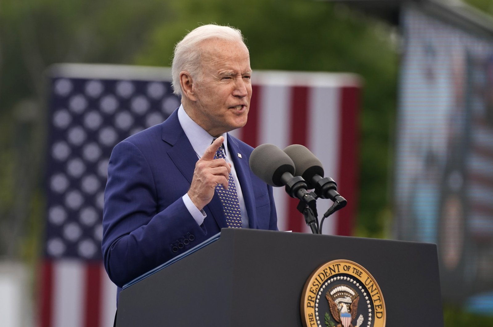 President Joe Biden speaks during a rally at Infinite Energy Center, to mark his 100th day in office, Thursday, April 29, 2021, in Duluth, Georgia, the U.S.  (AP File Photo)