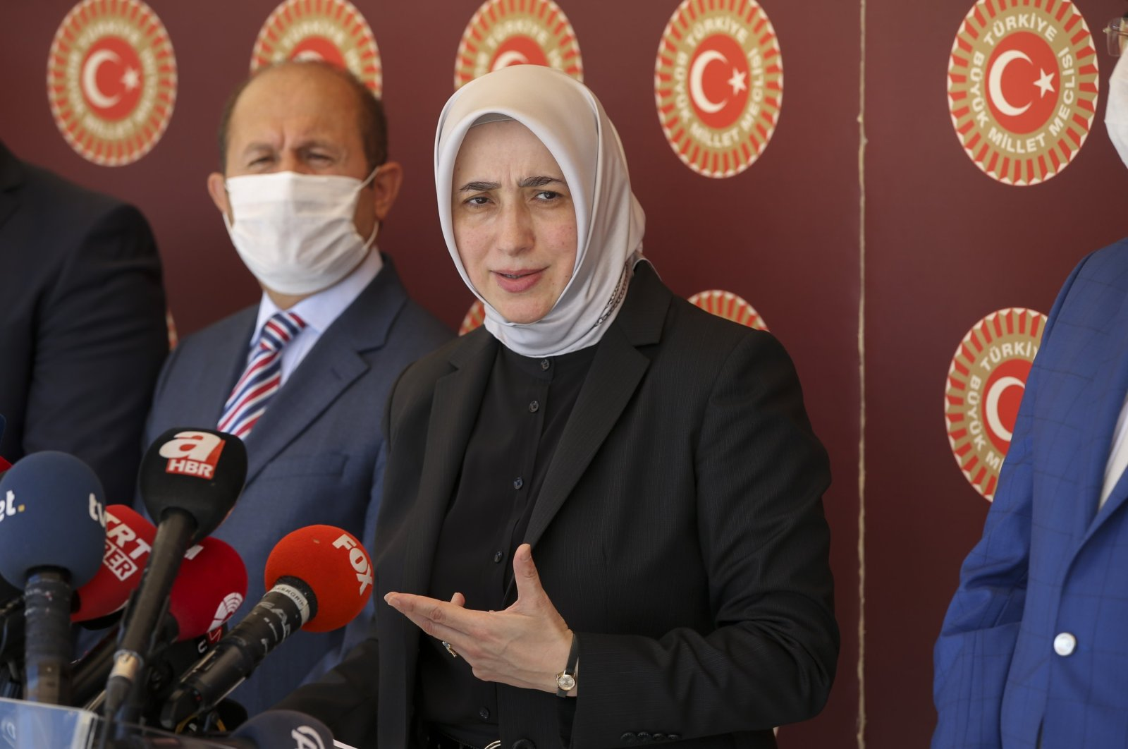 Özlem Zengin, the ruling Justice and Development Party (AK Party) deputy chair, during a press conference at the parliament in capital Ankara, July 21, 2020. (AA Photo)