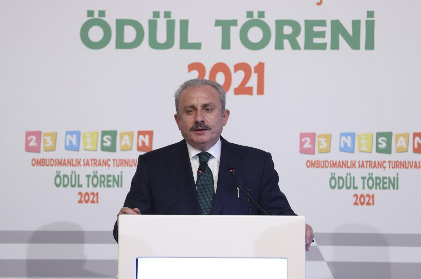 Turkey's Parliament Speaker Mustafa Şentop speaks at an event in the capital Ankara, Turkey, April 29, 2021. (AA Photo)