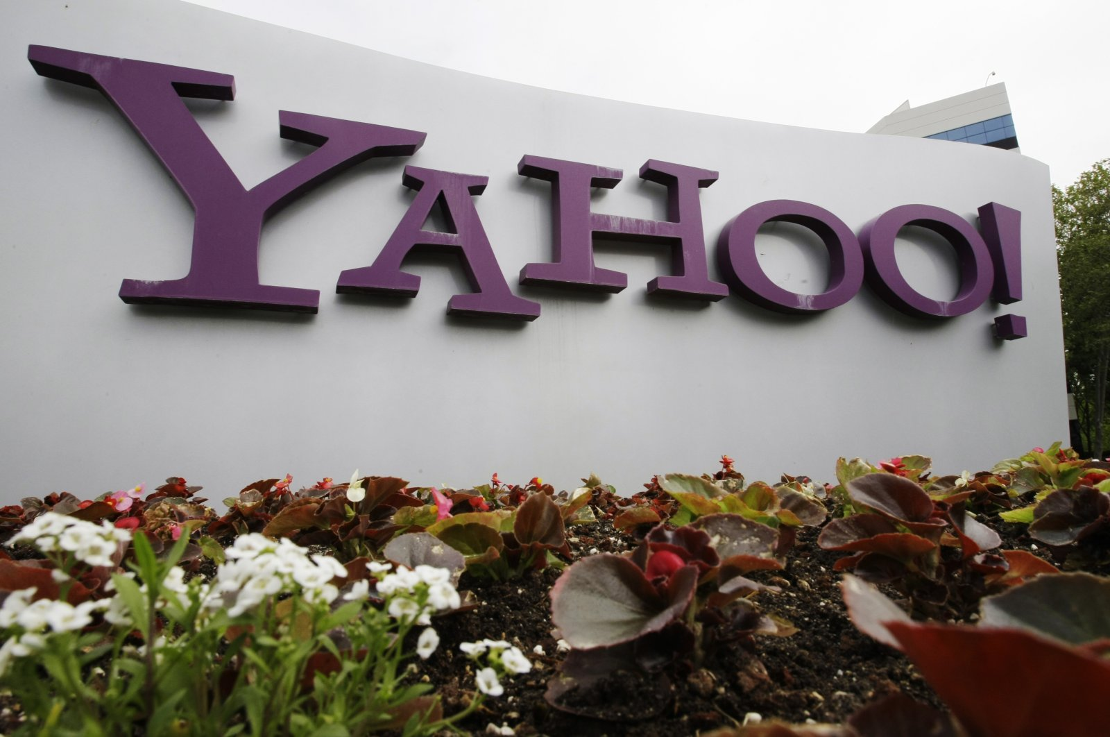 The Yahoo logo is displayed outside of offices in Santa Clara, California, U.S., April 18, 2011. (AP Photo)