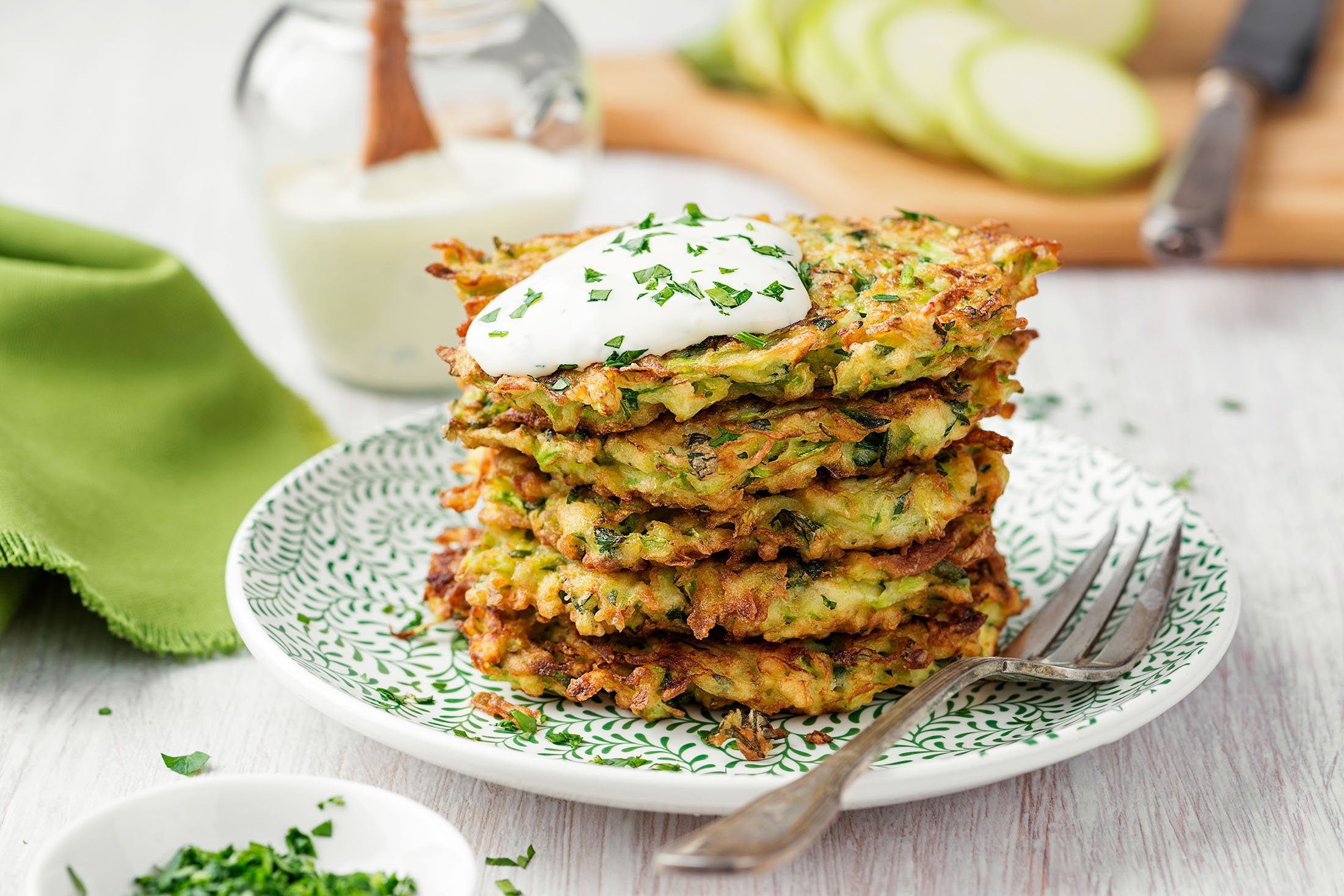 Often served with fresh herbs and yogurt, mücver are a staple food in Turkish cuisine. (Shutterstock Photo)