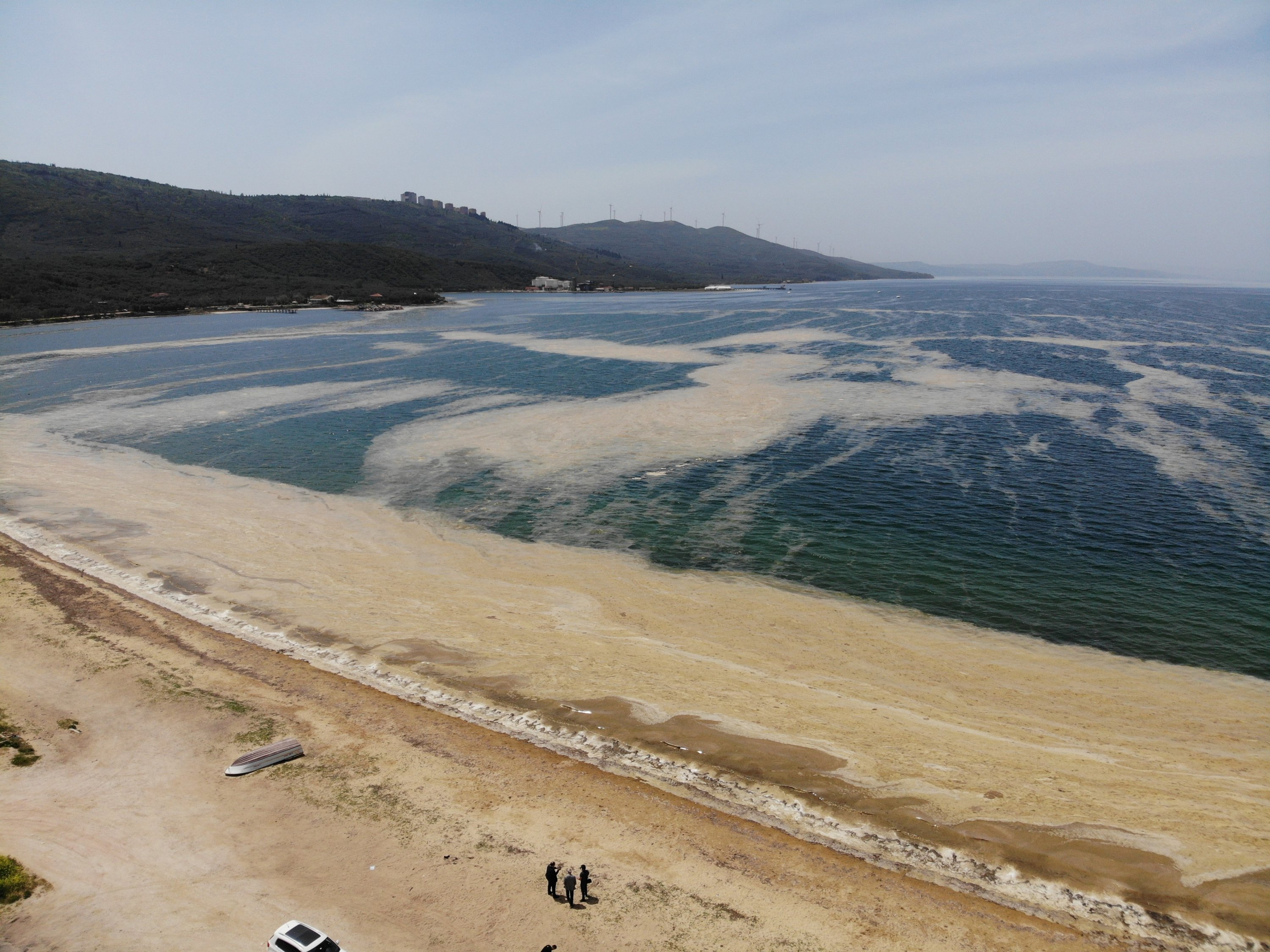 The Erdek Gulf is covered with sea snot, in Balıkesir, Turkey, May 4, 2021. (IHA Photo)