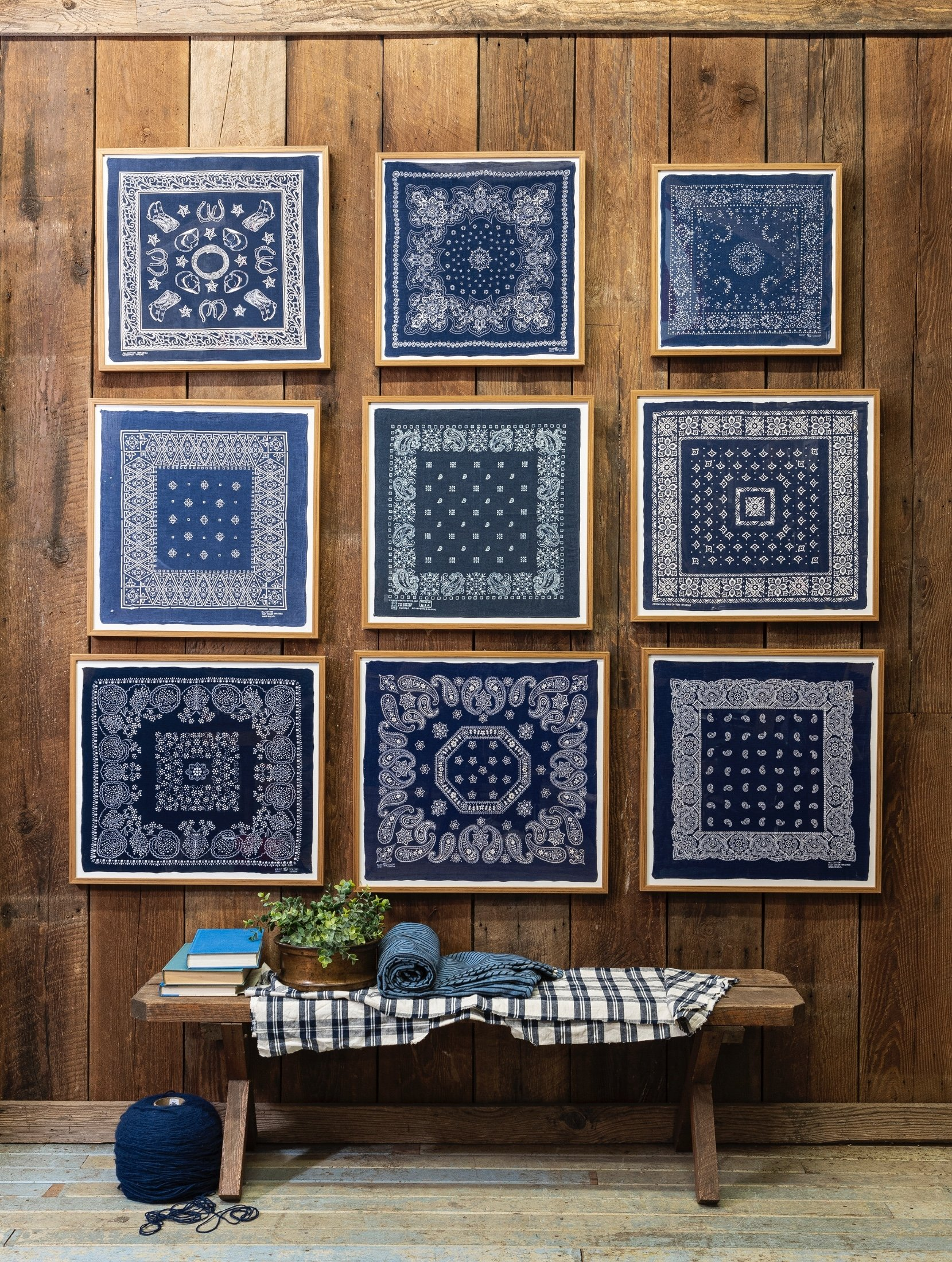 Portland Oregon-based interior designer Max Humphrey has been collecting bandanas and other vintage items for years, incorporating them into his own home and client projects. (Christopher Dibble via AP)