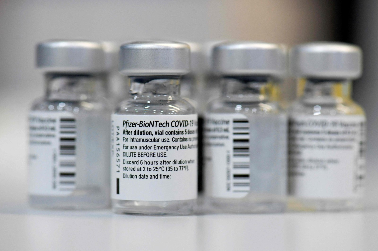 Empty vials of the Pfizer-BioNTech COVID-19 disease vaccine are displayed at the regional coronavirus vaccination center in Ludwigsburg, southern Germany, Jan. 22, 2021. (AFP Photo)