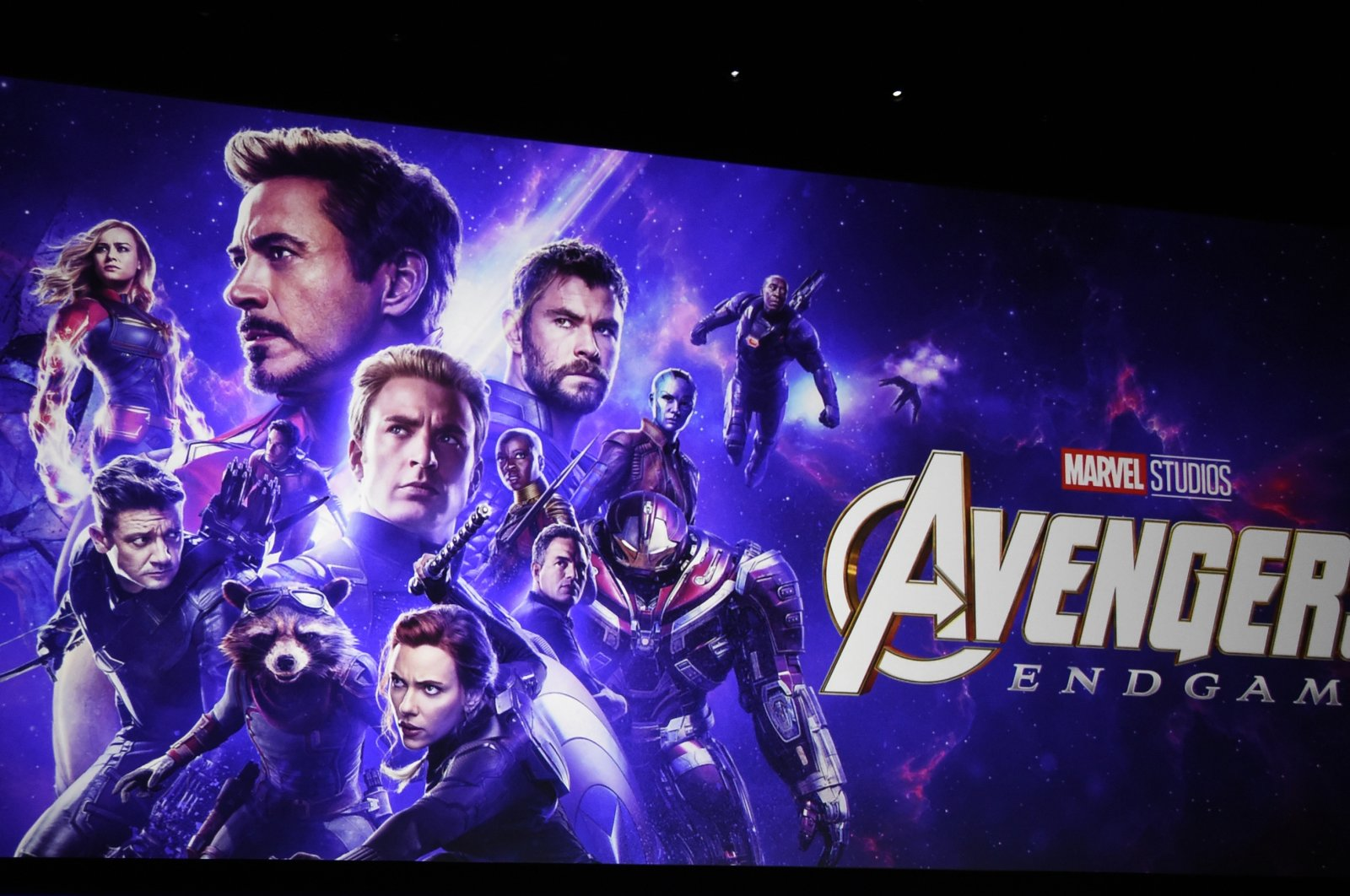"Artwork for the Marvel Studios film ""Avengers: Endgame"" appears on stage during the Walt Disney Studios Motion Pictures presentation at CinemaCon in Las Vegas, U.S., April 3, 2019. (AP Photo)"