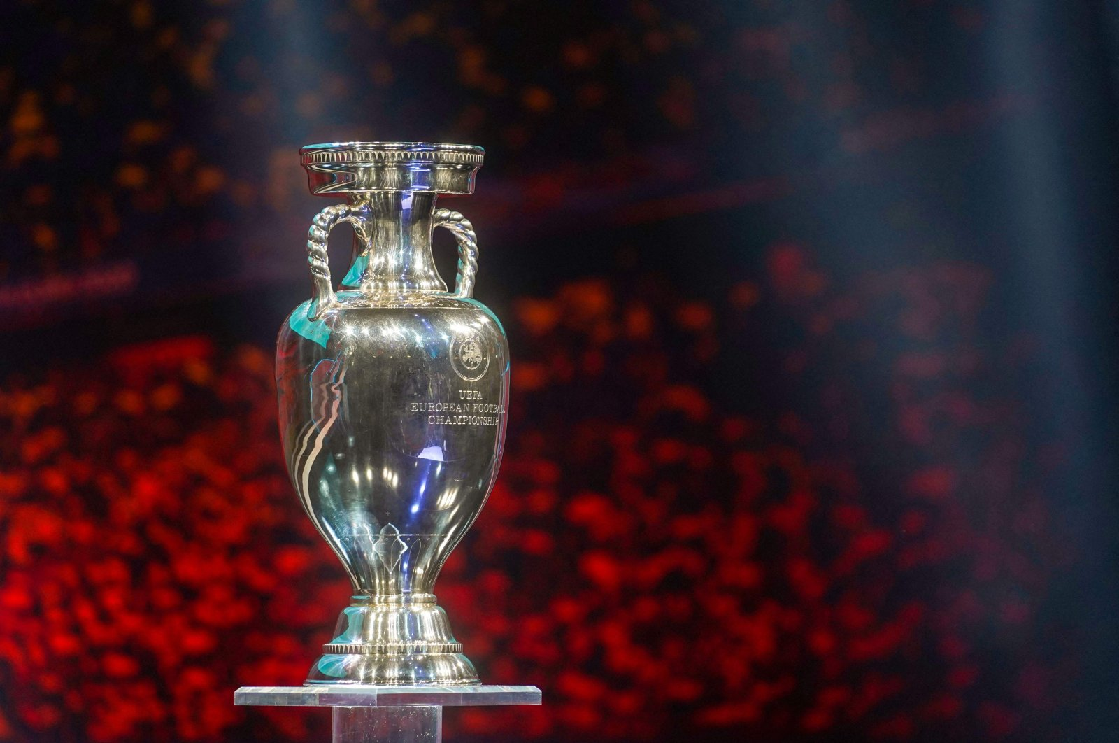 In this file photo taken on Nov. 30, 2019, the Euro Trophy is displayed on the stage during the UEFA Euro 2020 football competition final draw in Bucharest, Romania. (AFP Photo)