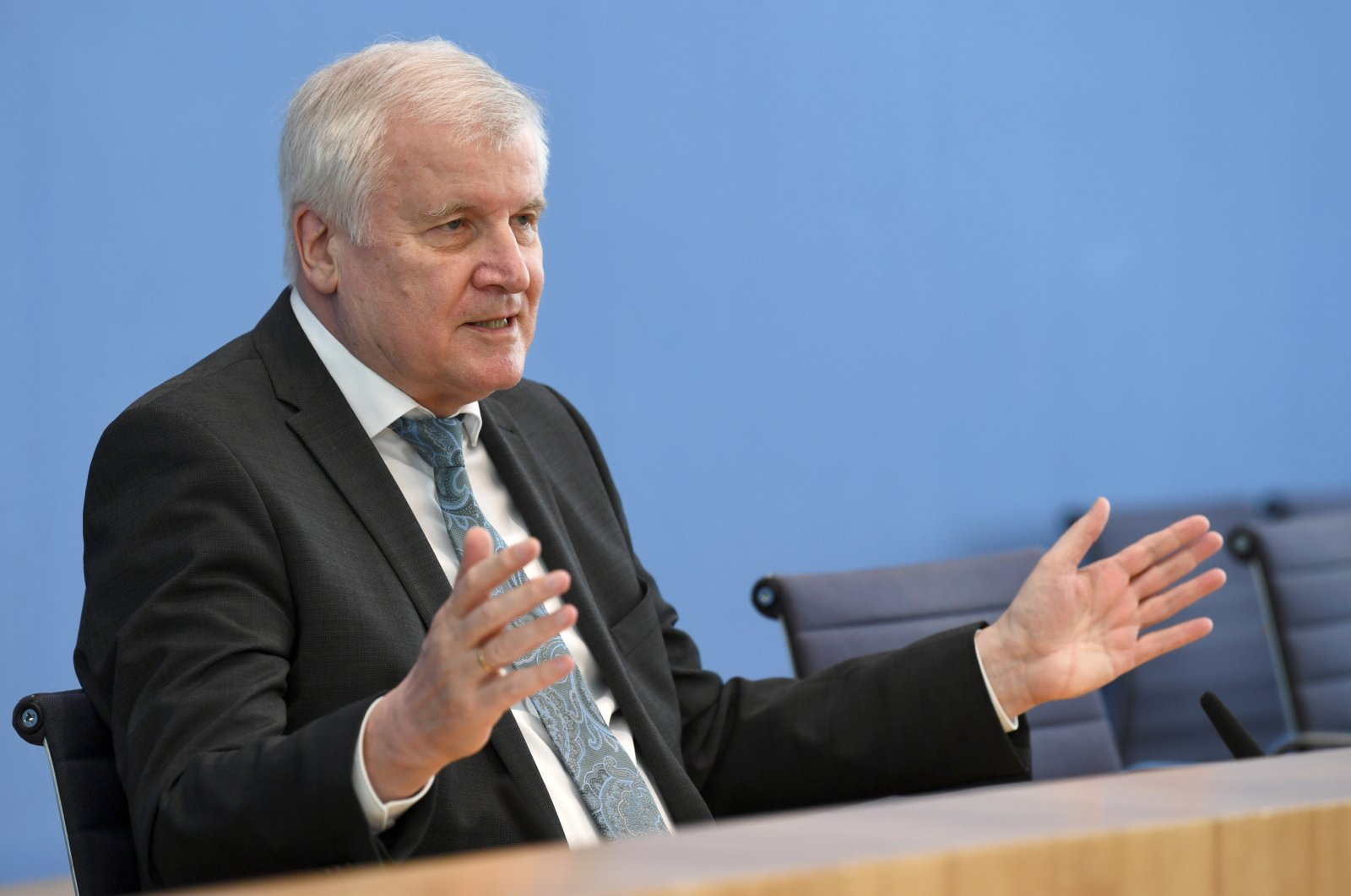 German Interior Minister Horst Seehofer attends a news conference on politically motivated crimes in Germany, Berlin, Germany, May 4, 2021. (REUTERS Photo)