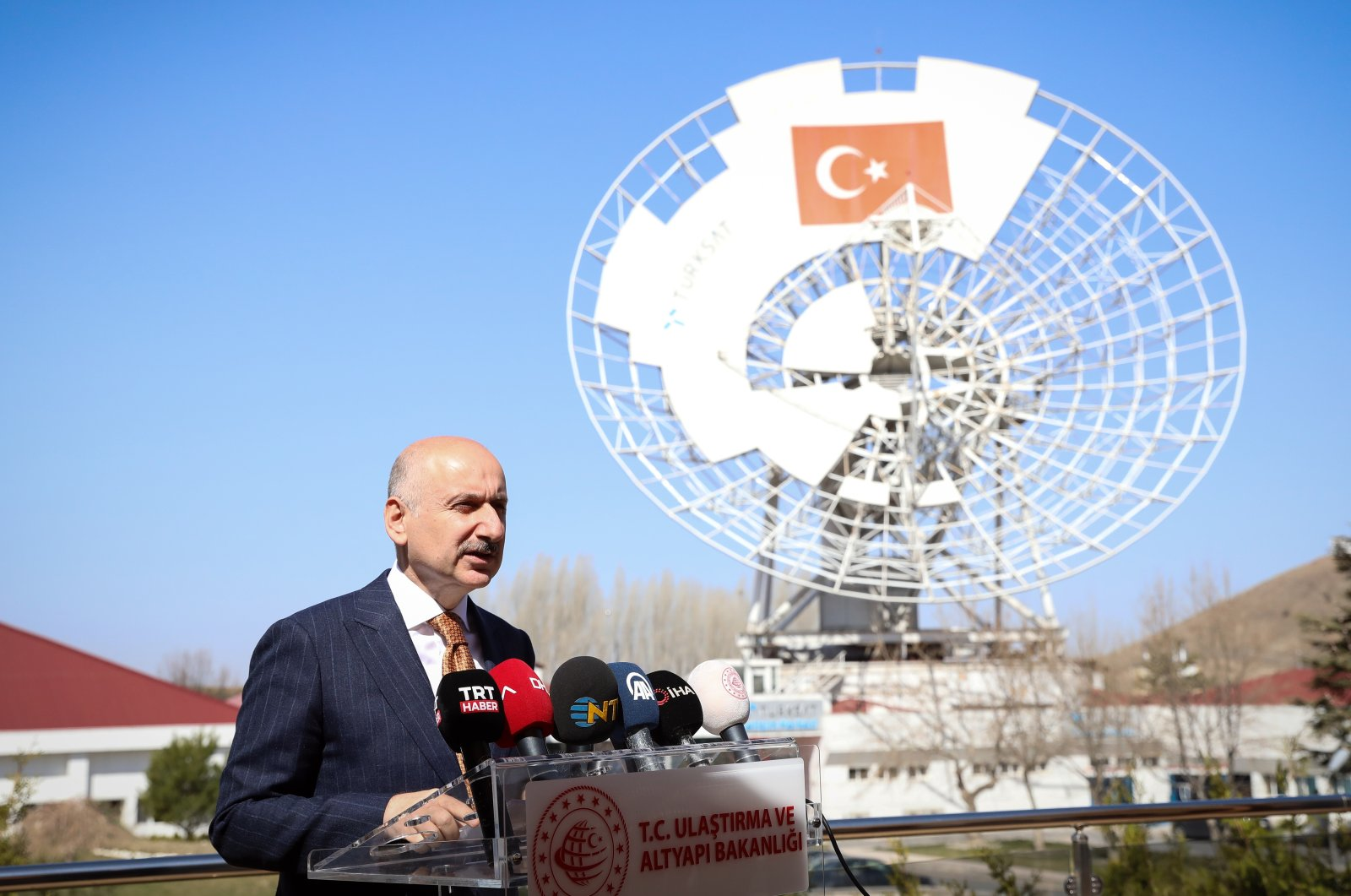Transport and Infrastructure Minister Adil Karaismailoğlu speaks at a press conference in the Türksat facility in Gölbaşı district, in the capital Ankara, Turkey, April 7, 2021. (AA Photo)