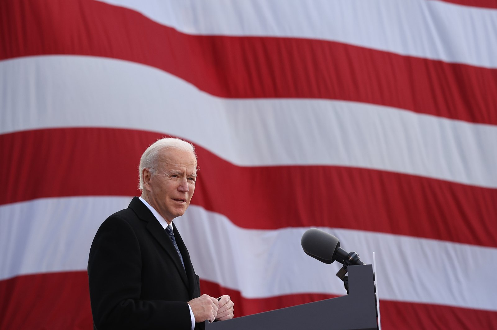 One day before being inaugurated as the 46th president of the United States, President-elect Joe Biden delivers remarks in New Castle, Delaware, U.S., Jan. 19, 2021. (Photo by Getty Images)