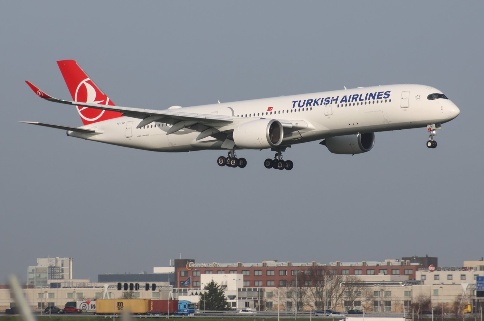 A Turkish Airlines Airbus A350-900 aircraft lands at Schiphol Airport, Amsterdam, the Netherlands, April 1, 2021 (Getty Images)