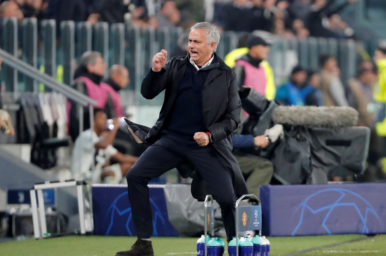 Then-Manchester United manager Jose Mourinho celebrates during a UEFA Champions League match against Juventus at the Allianz Stadium, Turin, Italy, Nov. 7, 2018. (Reuters Photo)