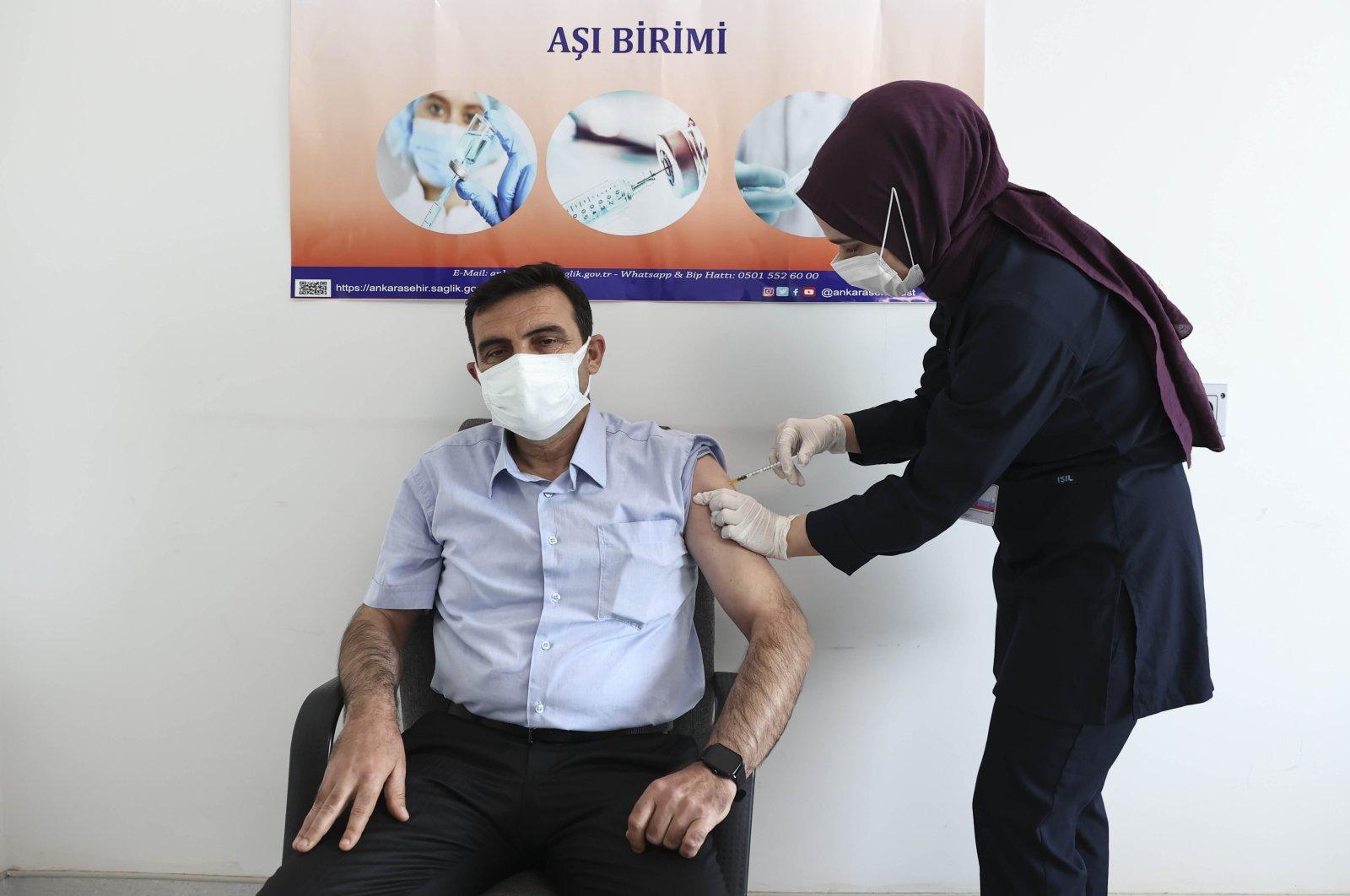 A man is vaccinated against the coronavirus at Ankara City Hospital, in the capital Ankara, Turkey, May 4, 2021. (AA PHOTO)