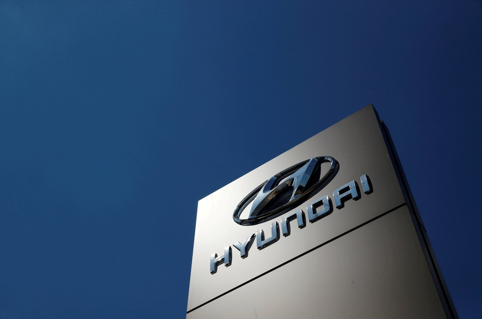 The Hyundai logo is seen outside a car showroom in Bletchley, Milton Keynes, Britain, May 31, 2020. (Reuters File Photo)