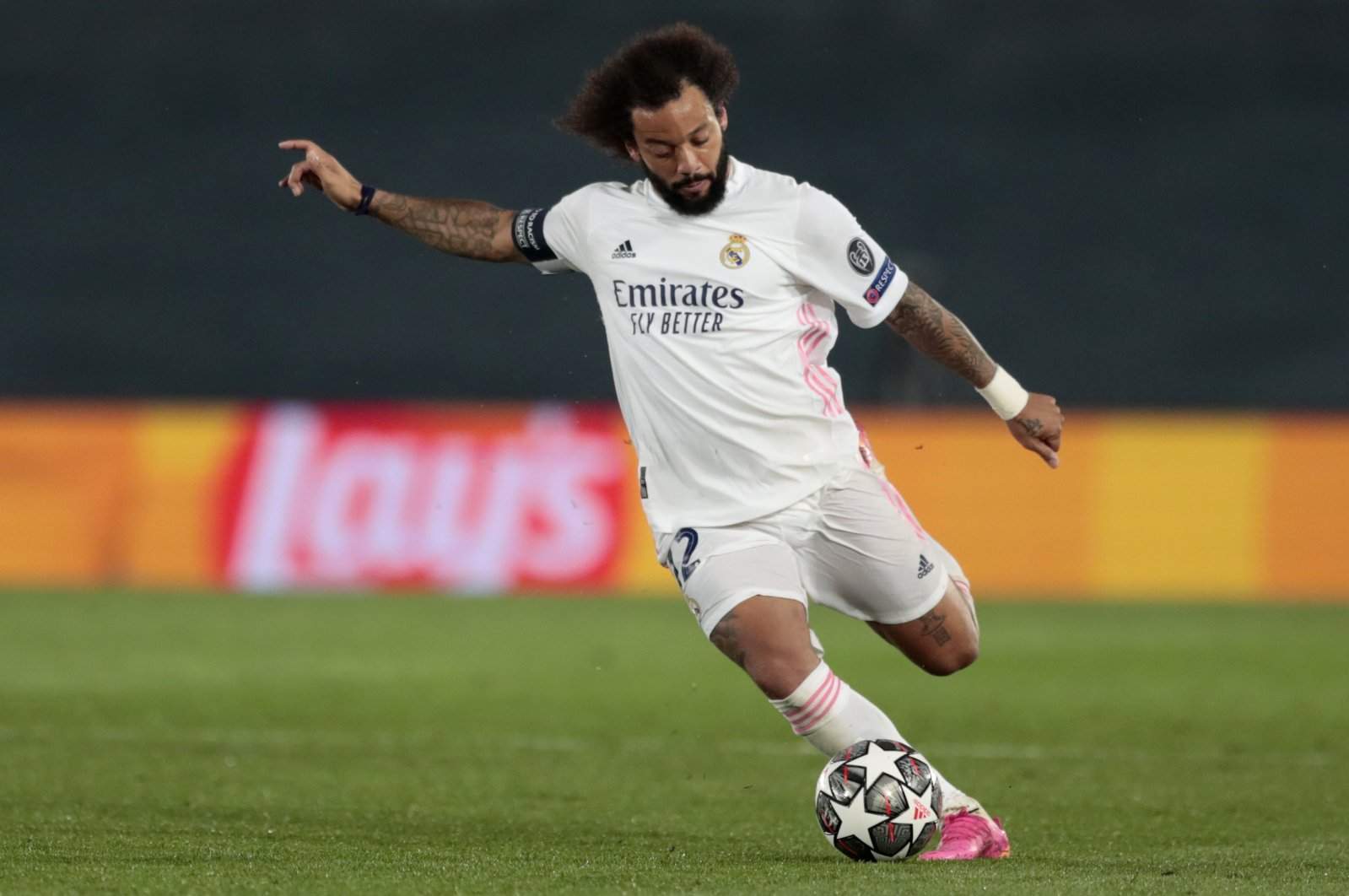Real Madrid's Marcelo takes a shot during the Champions League semifinal first leg soccer match between Real Madrid and Chelsea at the Alfredo di Stefano stadium in Madrid, Spain, April 27, 2021. (AP Photo)