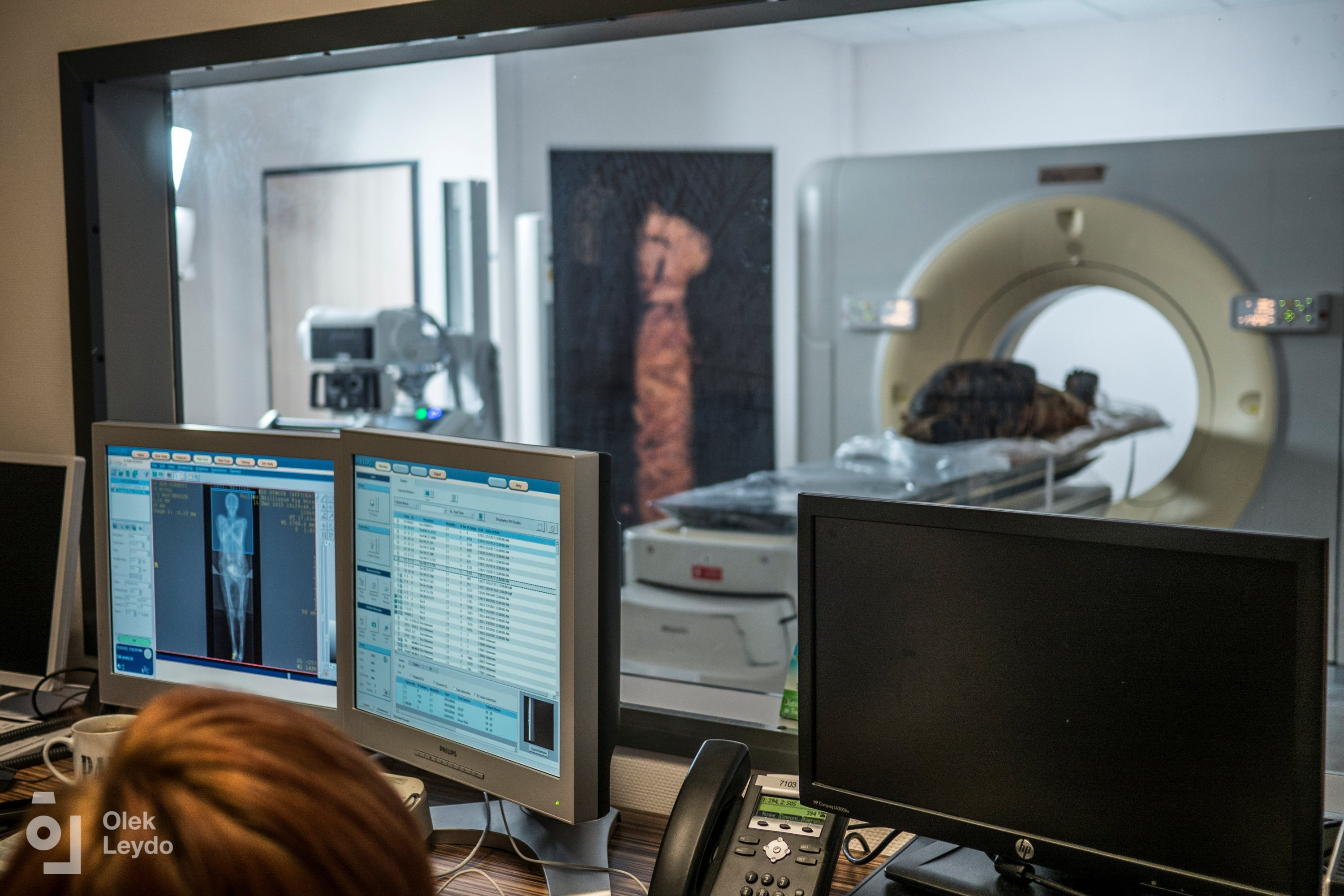 A scientist makes CT scan of a pregnant Egyptian mummy during a research work in this undated handout photo. (Warsaw Mummy Project via Reuters)