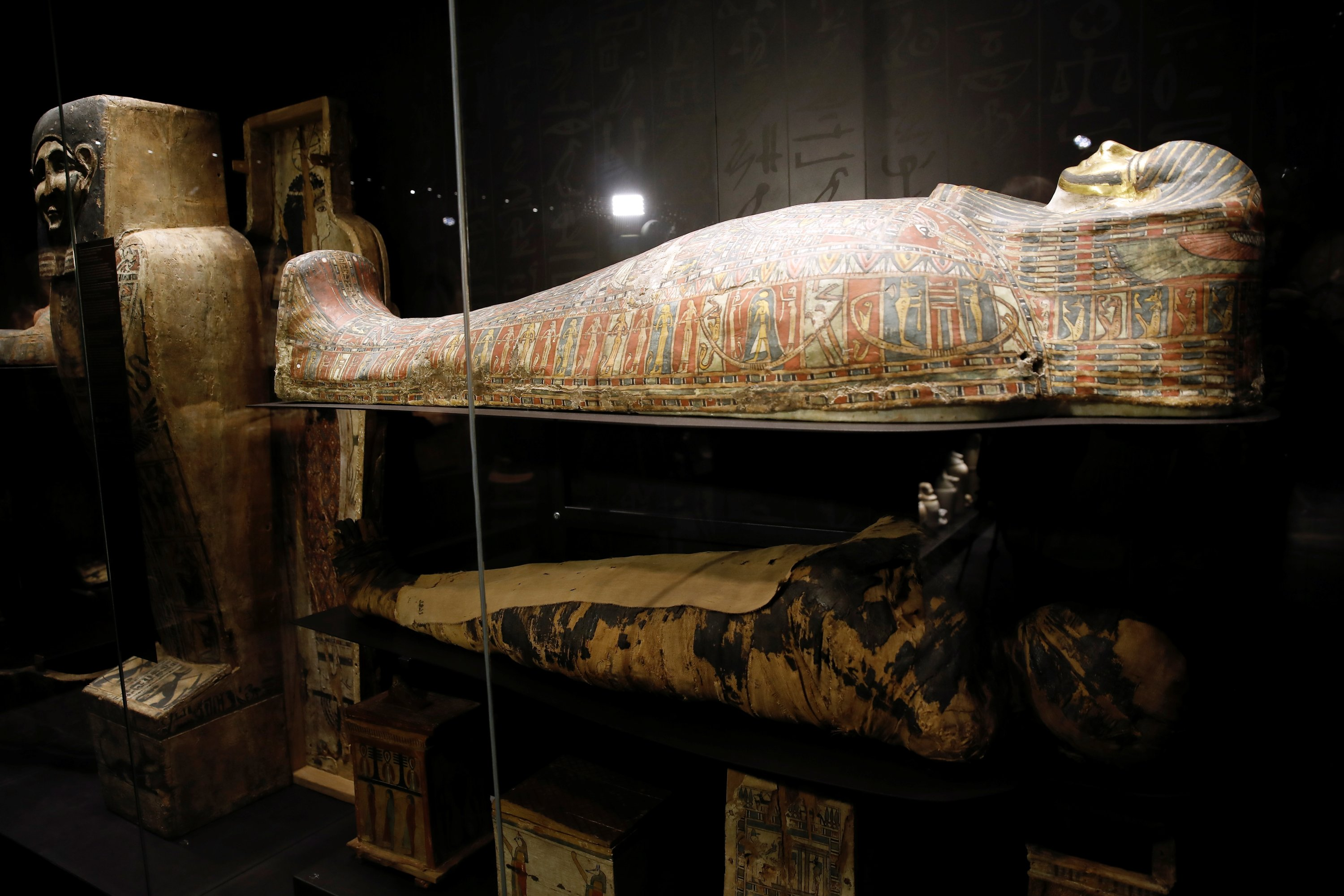 The only known example of a pregnant Egyptian mummy is displayed at an exhibition in National Museum in Warsaw, Poland, May 4, 2021. (Reuters Photo)