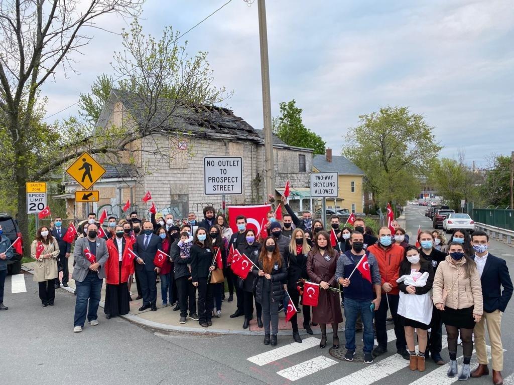 People attend a commemoration ceremony for slain Turkish diplomat Orhan Gündüz in Boston, U.S., May 4, 2021. (AA Photo)