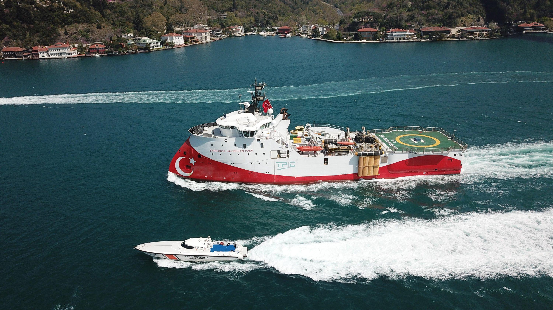 Seismic vessel Barbaros Hayreddin Paşa sails in the Bosporus, on its way to the Black Sea, Istanbul, Turkey, April 30, 2021. (DHA Photo)